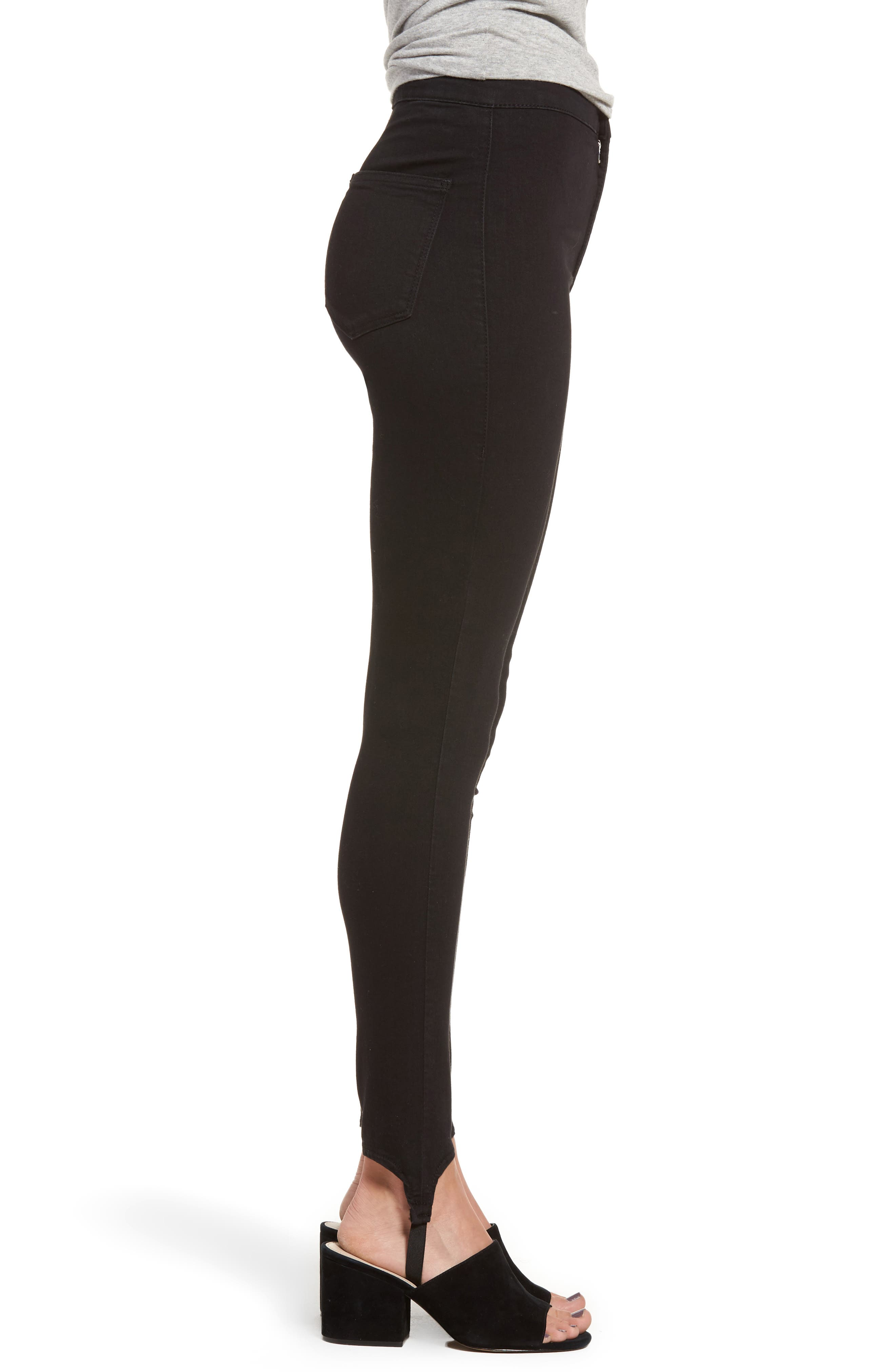 High Rise Skinny Stirrup Jeans,                             Alternate thumbnail 4, color,                             Black