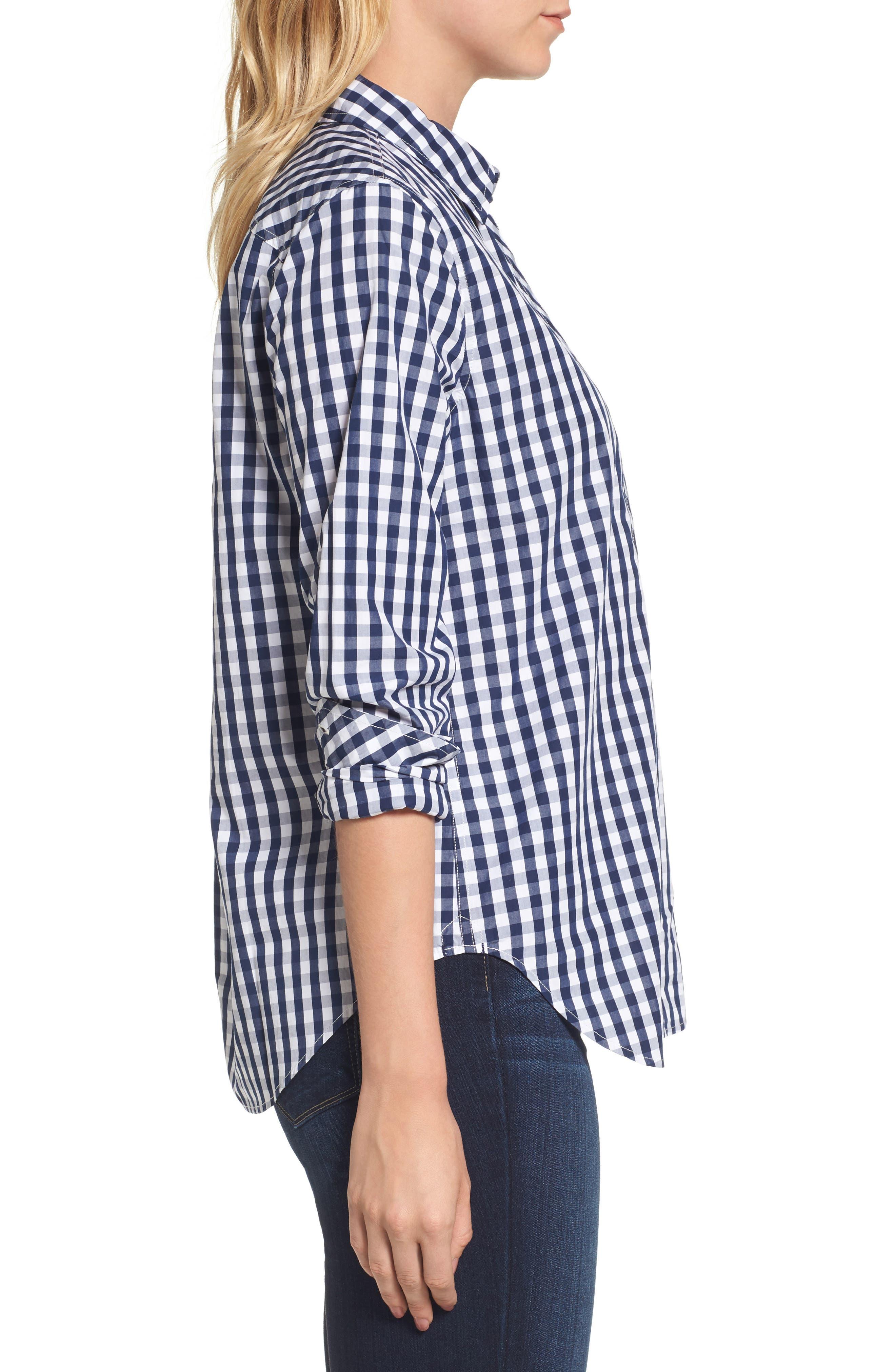 Seabreeze Gingham Pocket Shirt,                             Alternate thumbnail 3, color,                             Deep Bay
