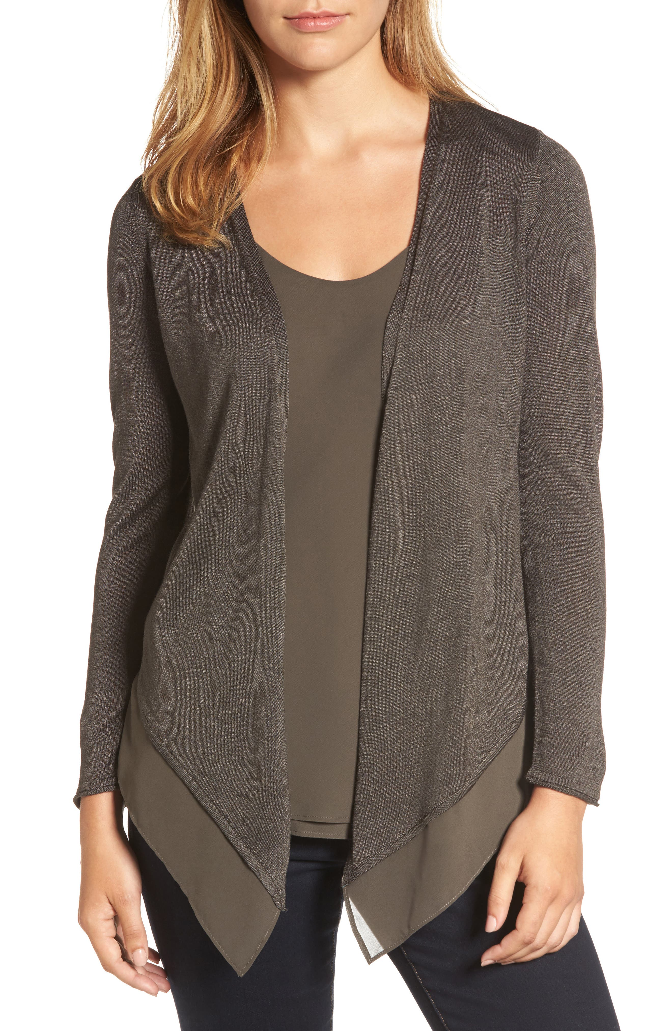 Paired Up Silk Blend Cardigan,                         Main,                         color, Terrene
