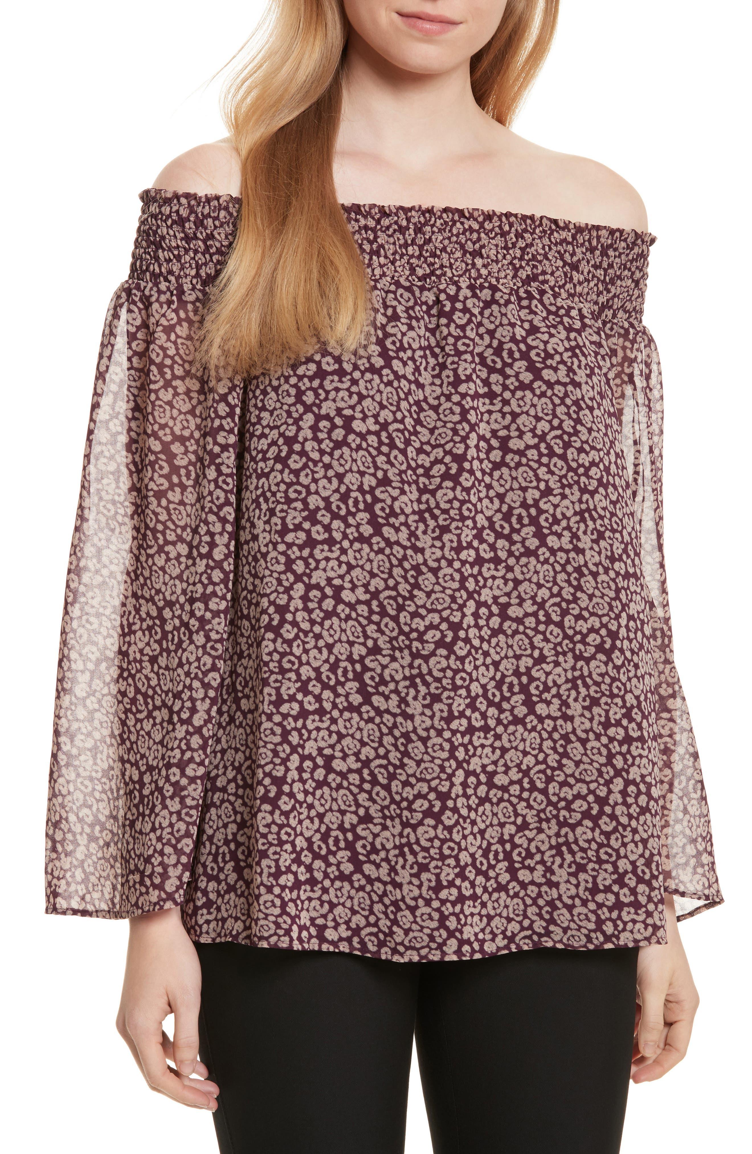 Avani Off the Shoulder Top,                         Main,                         color, Potent Purple Leopard