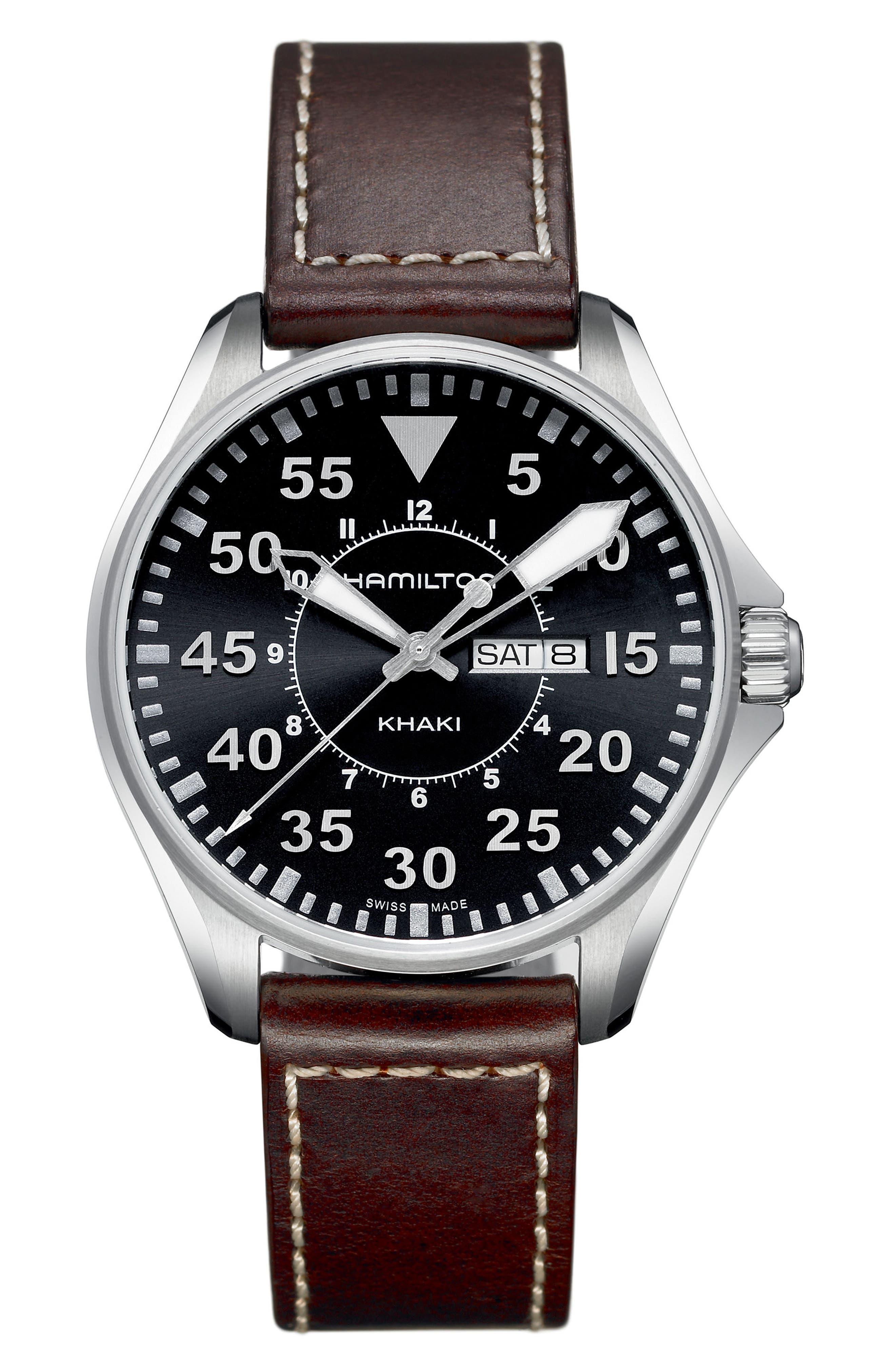 Khaki Aviation Pilot Leather Strap Watch, 42mm,                             Main thumbnail 1, color,                             Brown/ Black/ Silver
