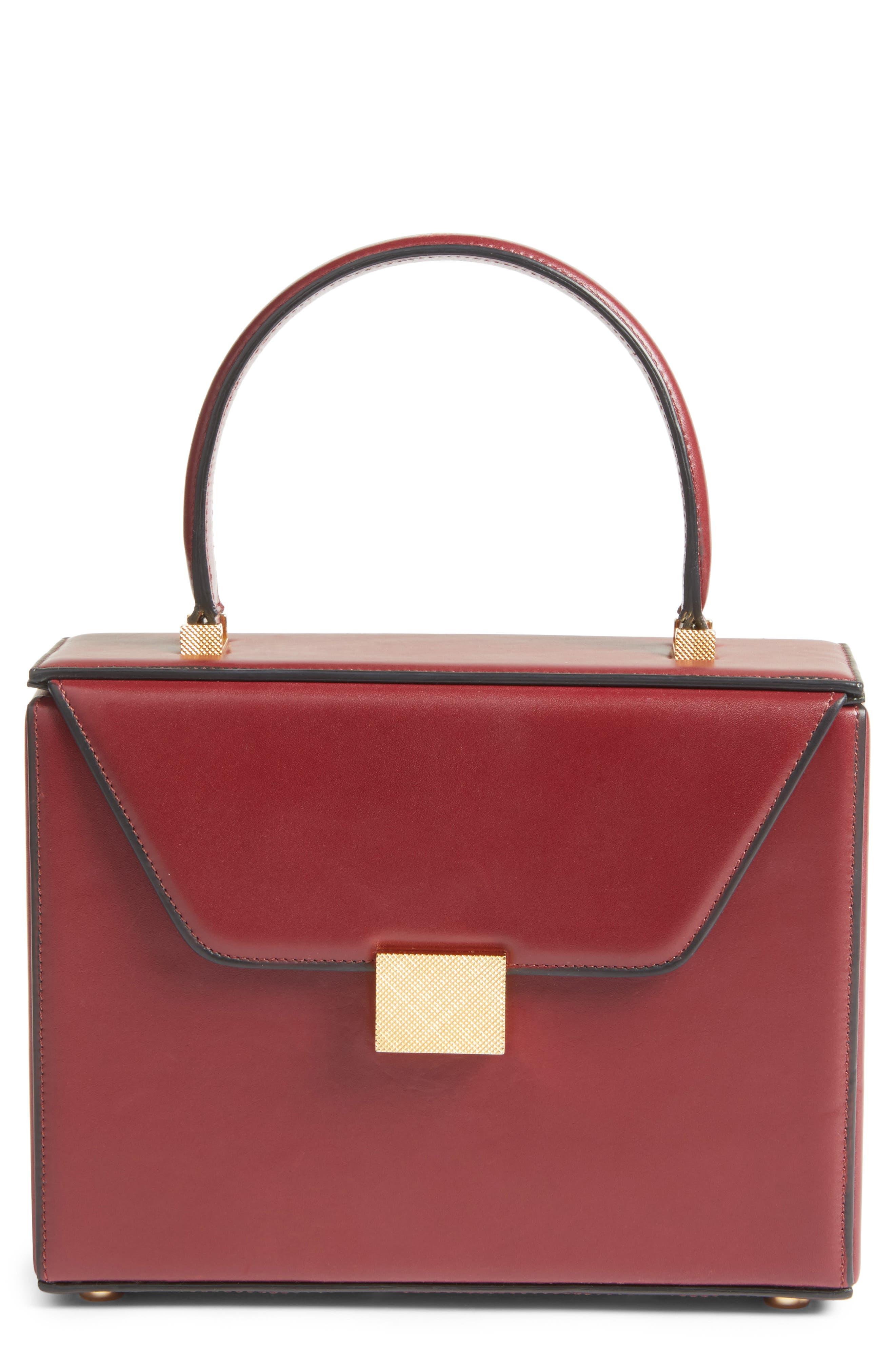 Mini Vanity Top Handle Box Bag,                             Main thumbnail 1, color,                             Bordeaux