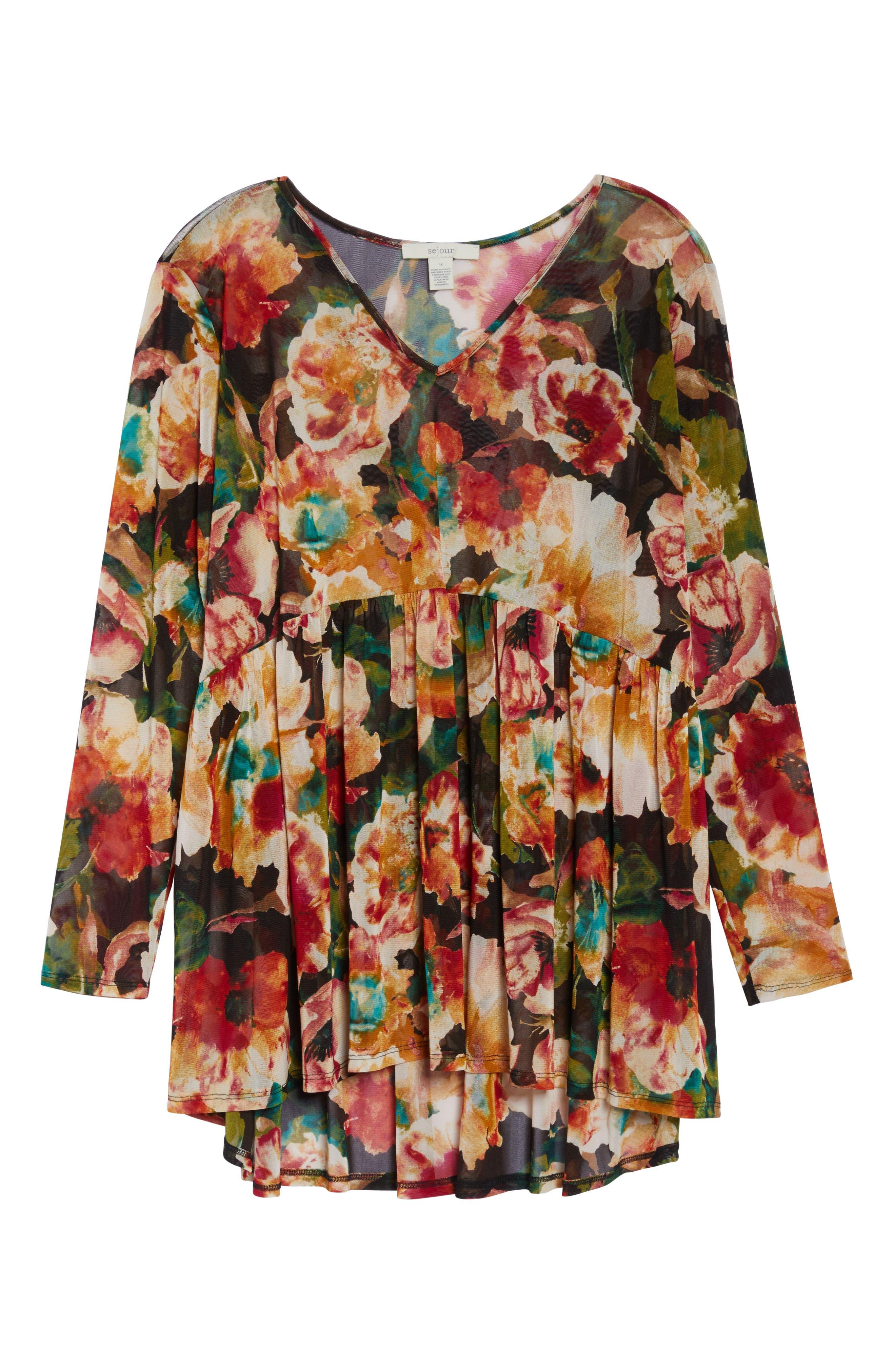 Alternate Image 6  - Sejour Floral Print Mesh Peplum Tunic (Plus Size)