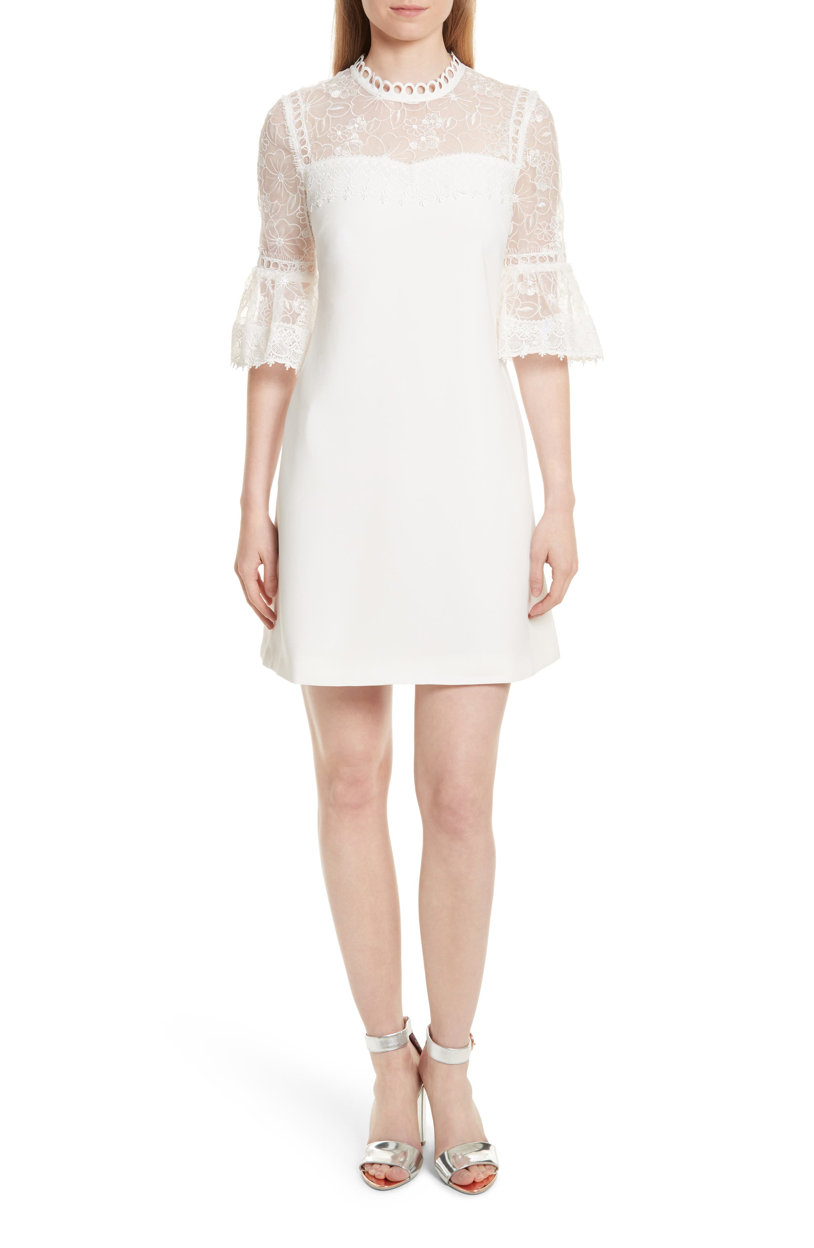 Alternate Image 1 Selected - Ted Baker London Raechal Lace Sleeve A-Line Dress