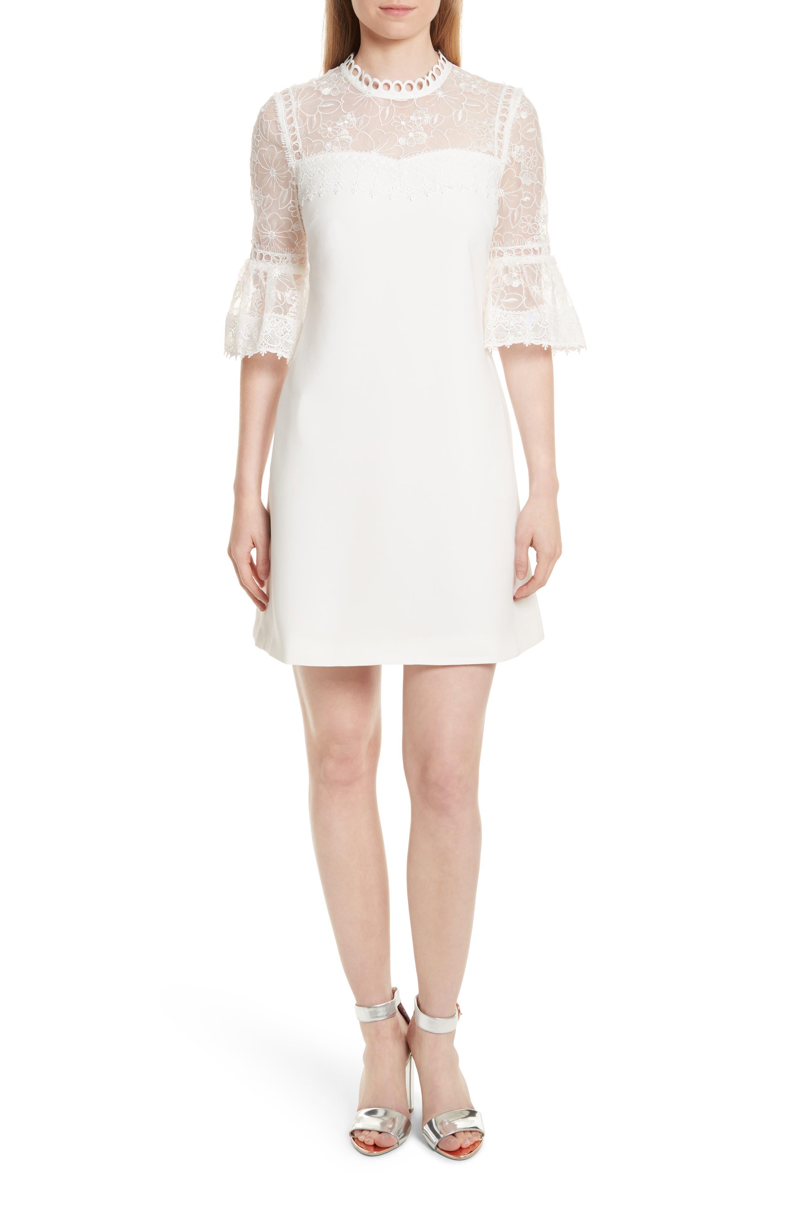 Main Image - Ted Baker London Raechal Lace Sleeve A-Line Dress