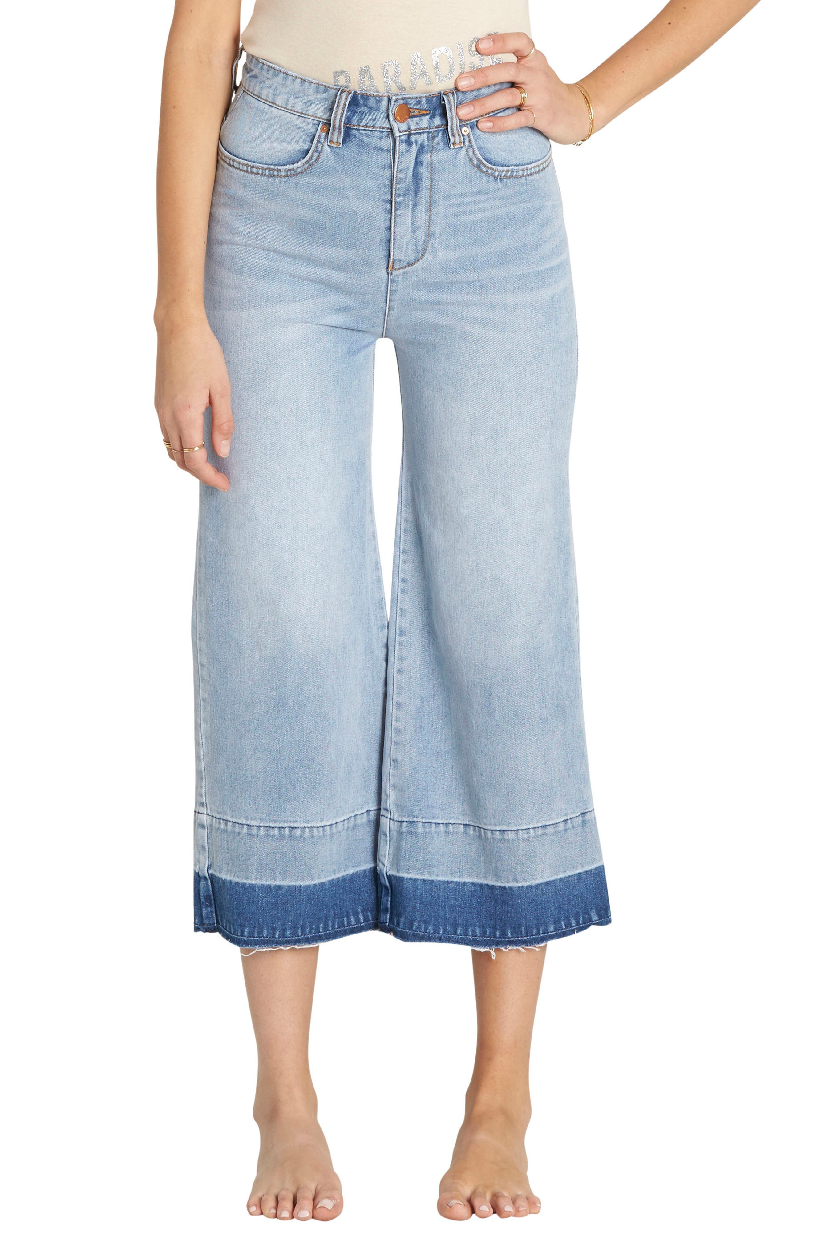 Billabong Gone Tomorrow Crop Wide Leg Jeans (Water)