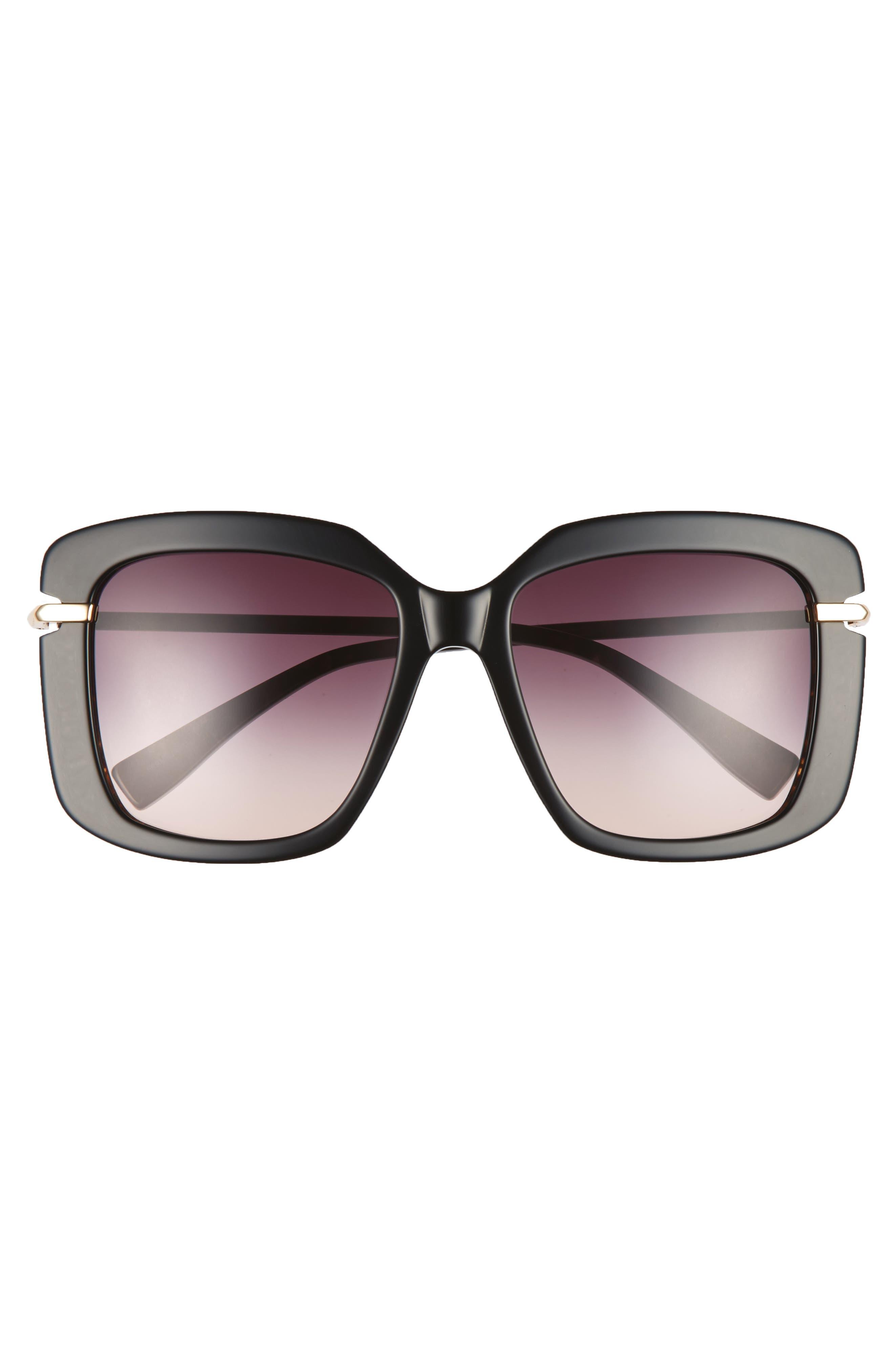 Anita 55mm Square Sunglasses,                             Alternate thumbnail 3, color,                             Black Brown