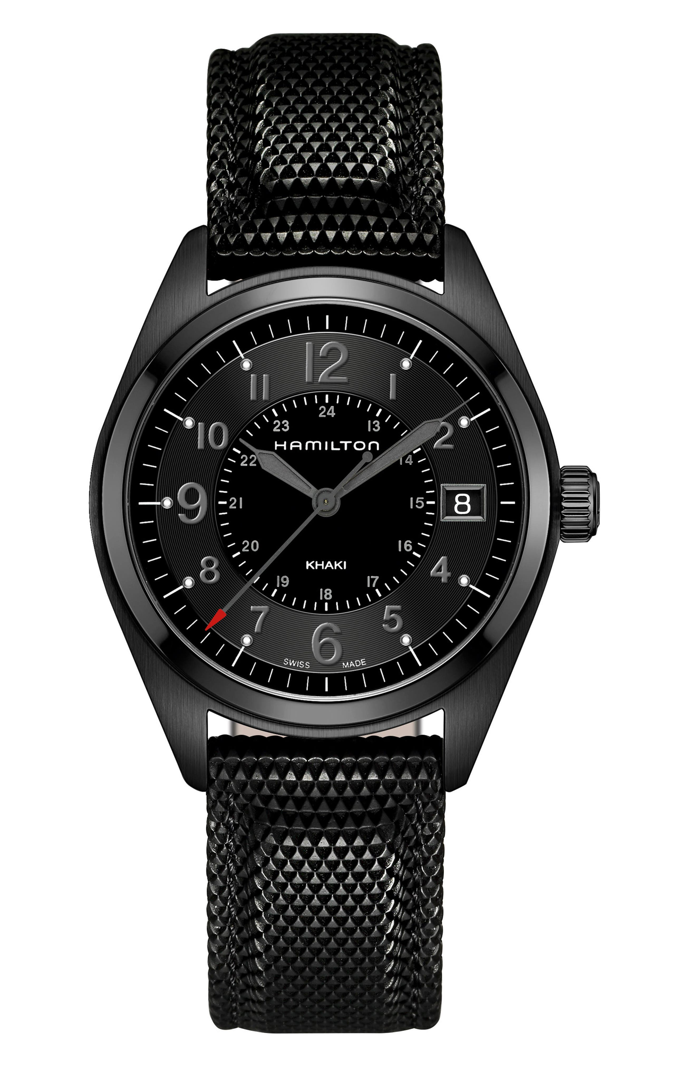 Alternate Image 1 Selected - Hamilton Khaki Field Silicone Strap Watch, 40mm