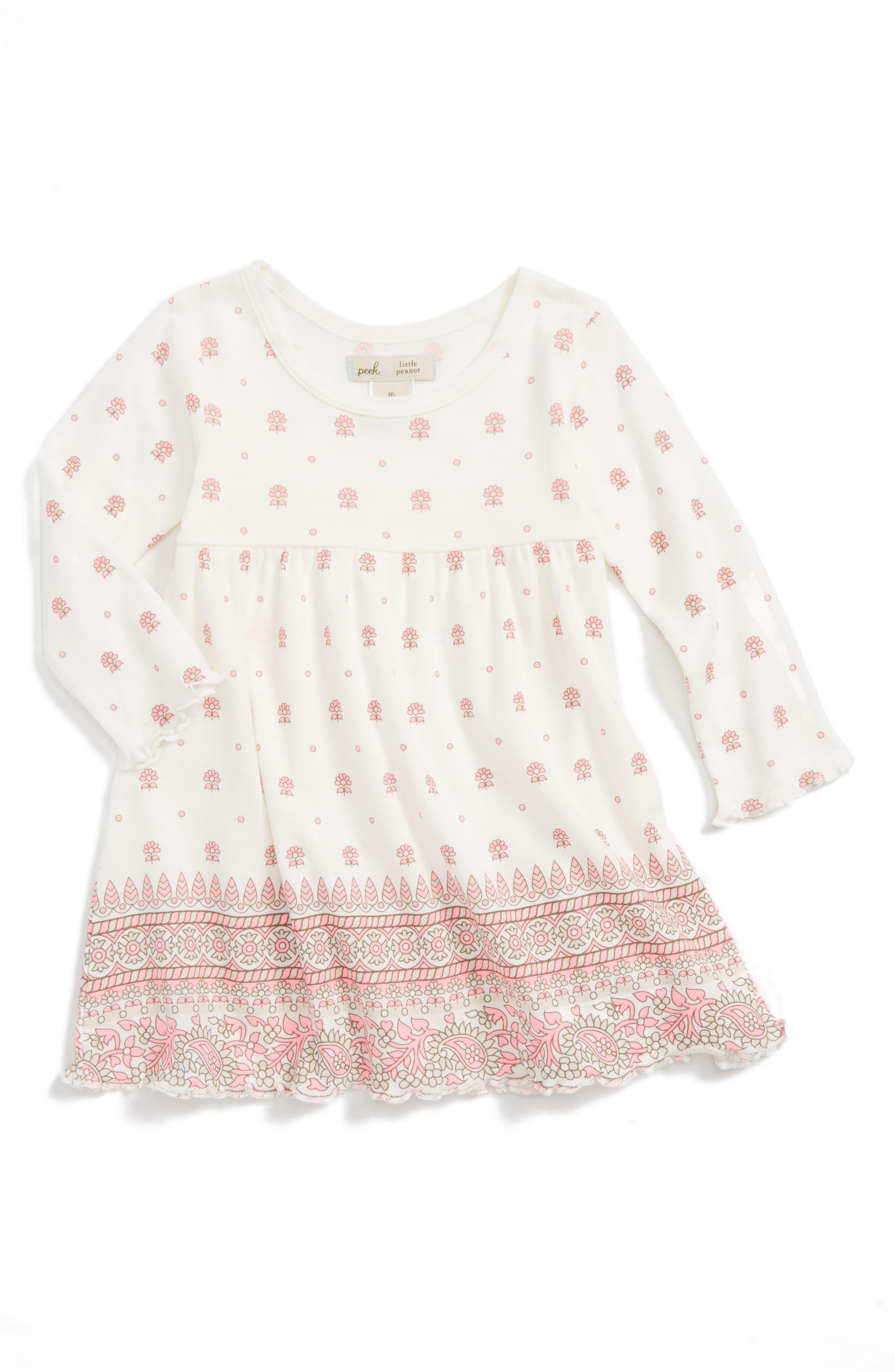 Peek Border Print Dress,                         Main,                         color, Pink