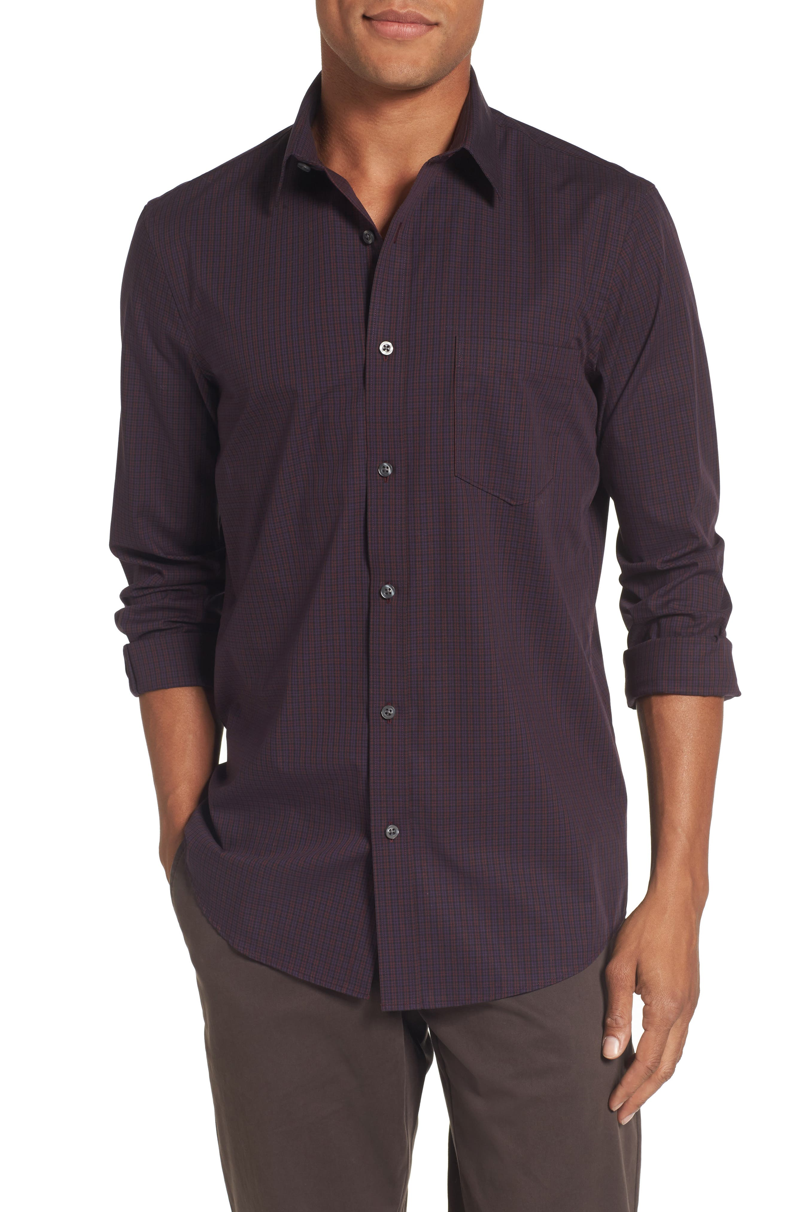 Nordstrom Men's Shop Non-Iron Regular Fit Mini Check Sport Shirt (Tall)