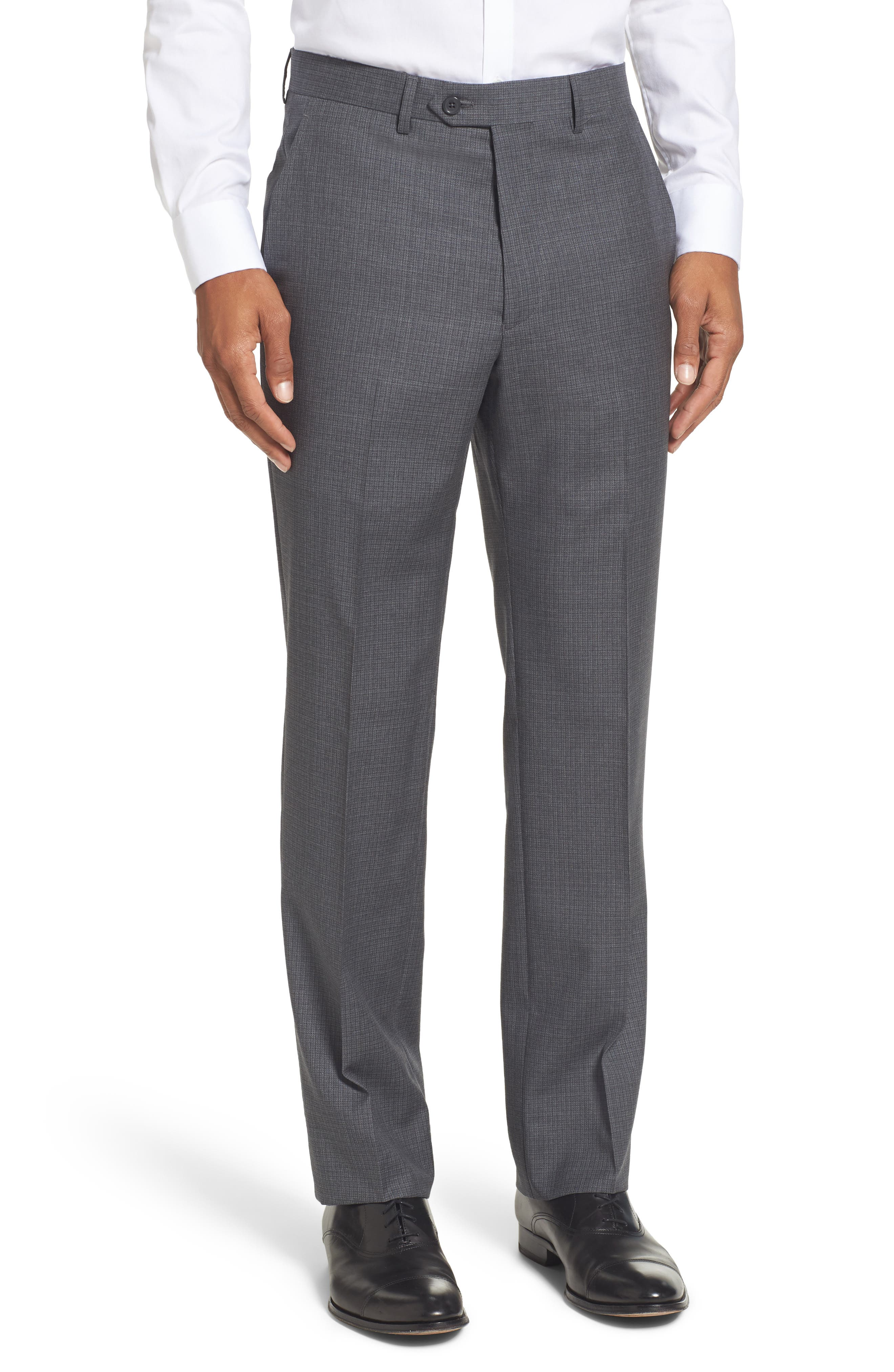 SANTORELLI Romeo Regular Fit Flat Front Wool Trousers