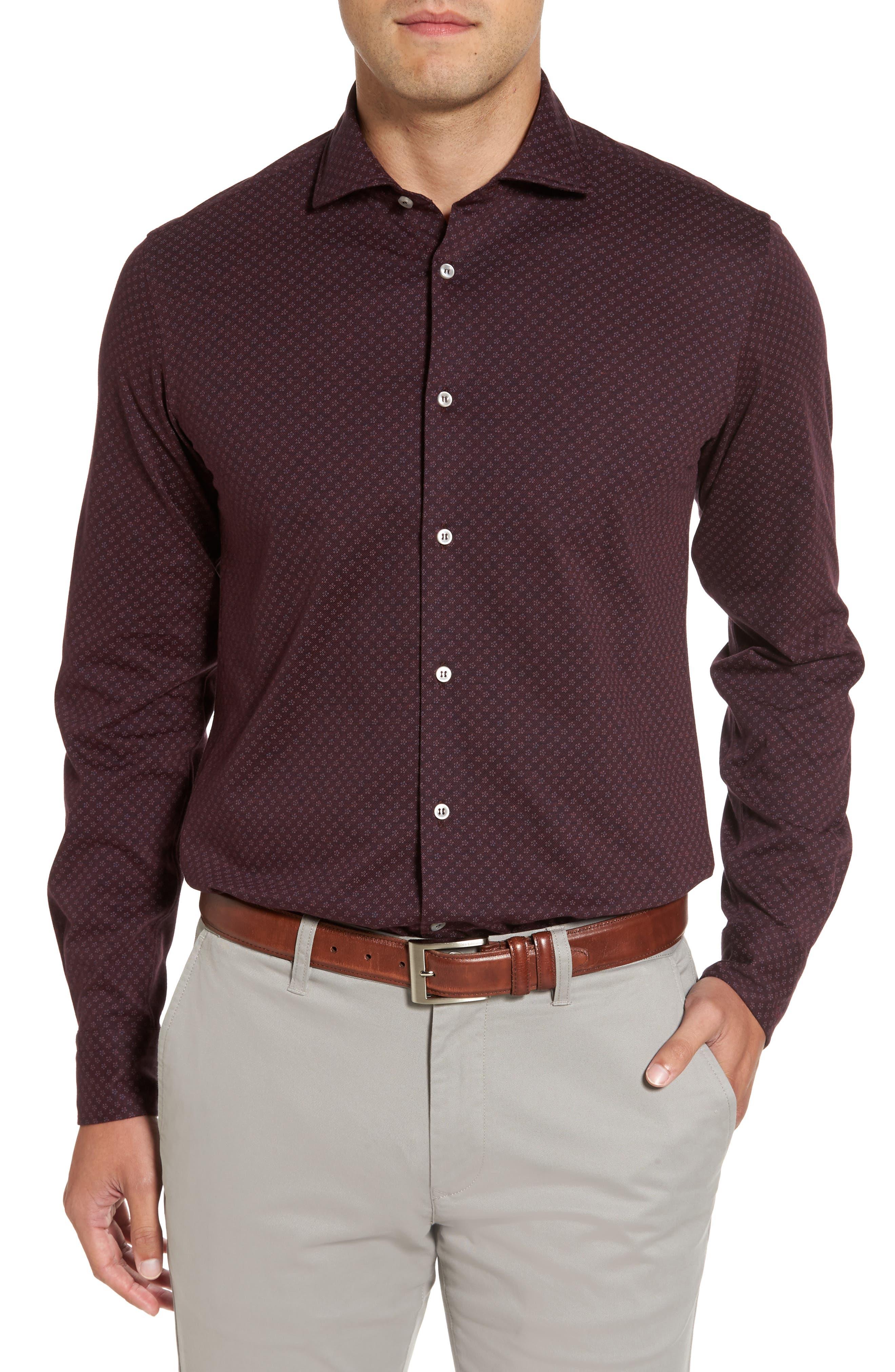 Paul&Shark Floral Print Knit Sports Shirt,                         Main,                         color, Burgundy
