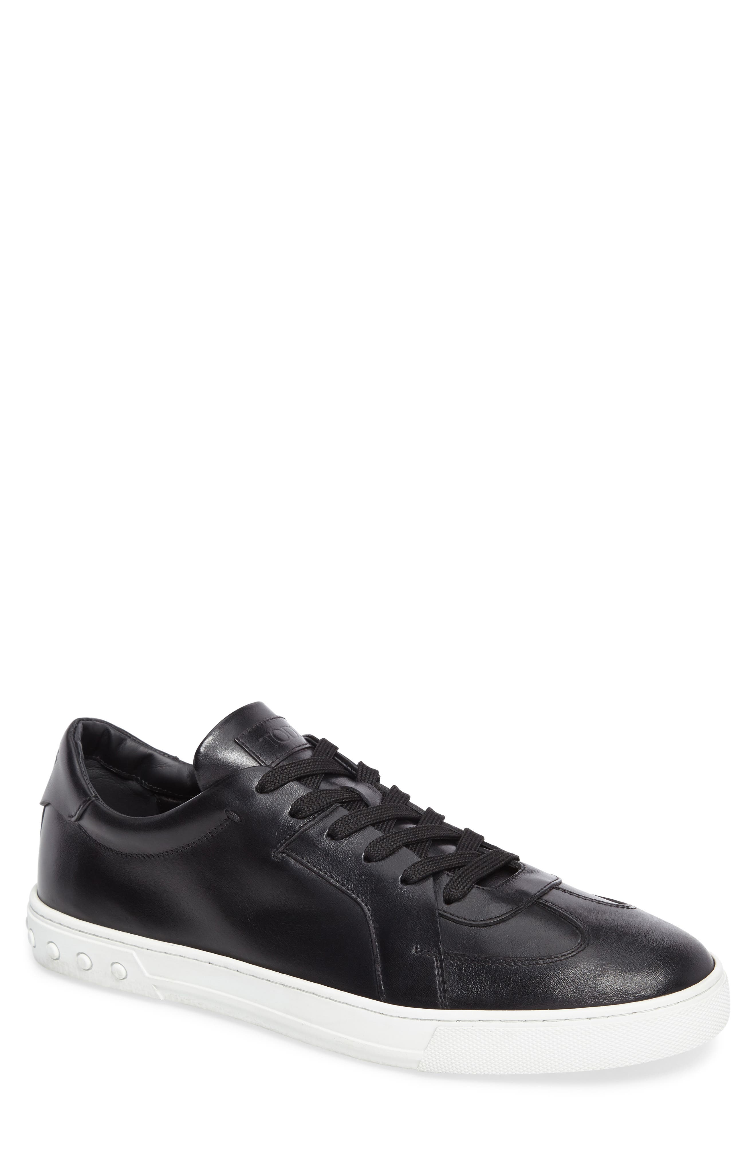 Cassetta Leather Sneaker,                             Main thumbnail 1, color,                             Black Leather