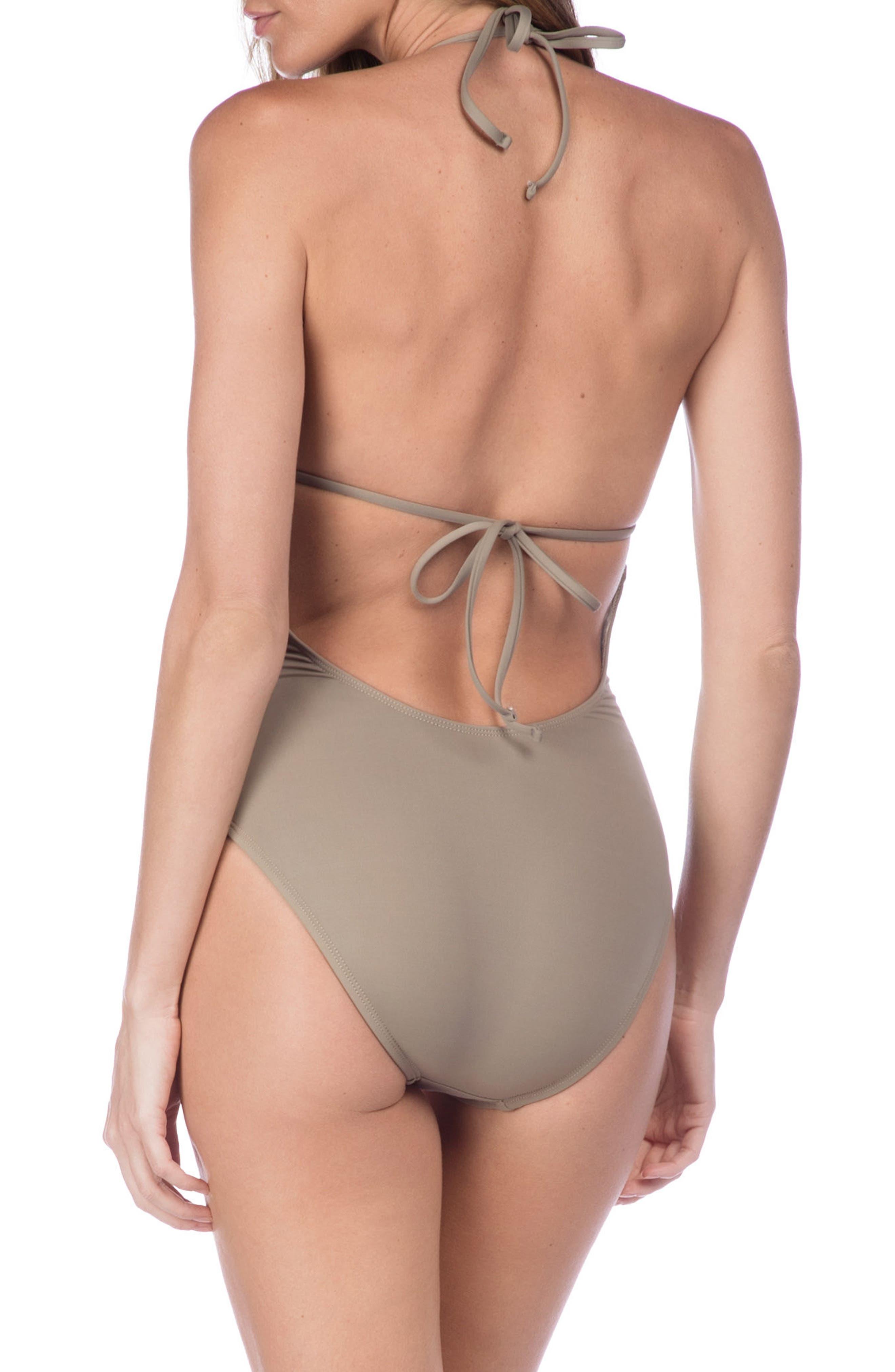 Deco Halter One-Piece Swimsuit,                             Alternate thumbnail 2, color,                             Pebble