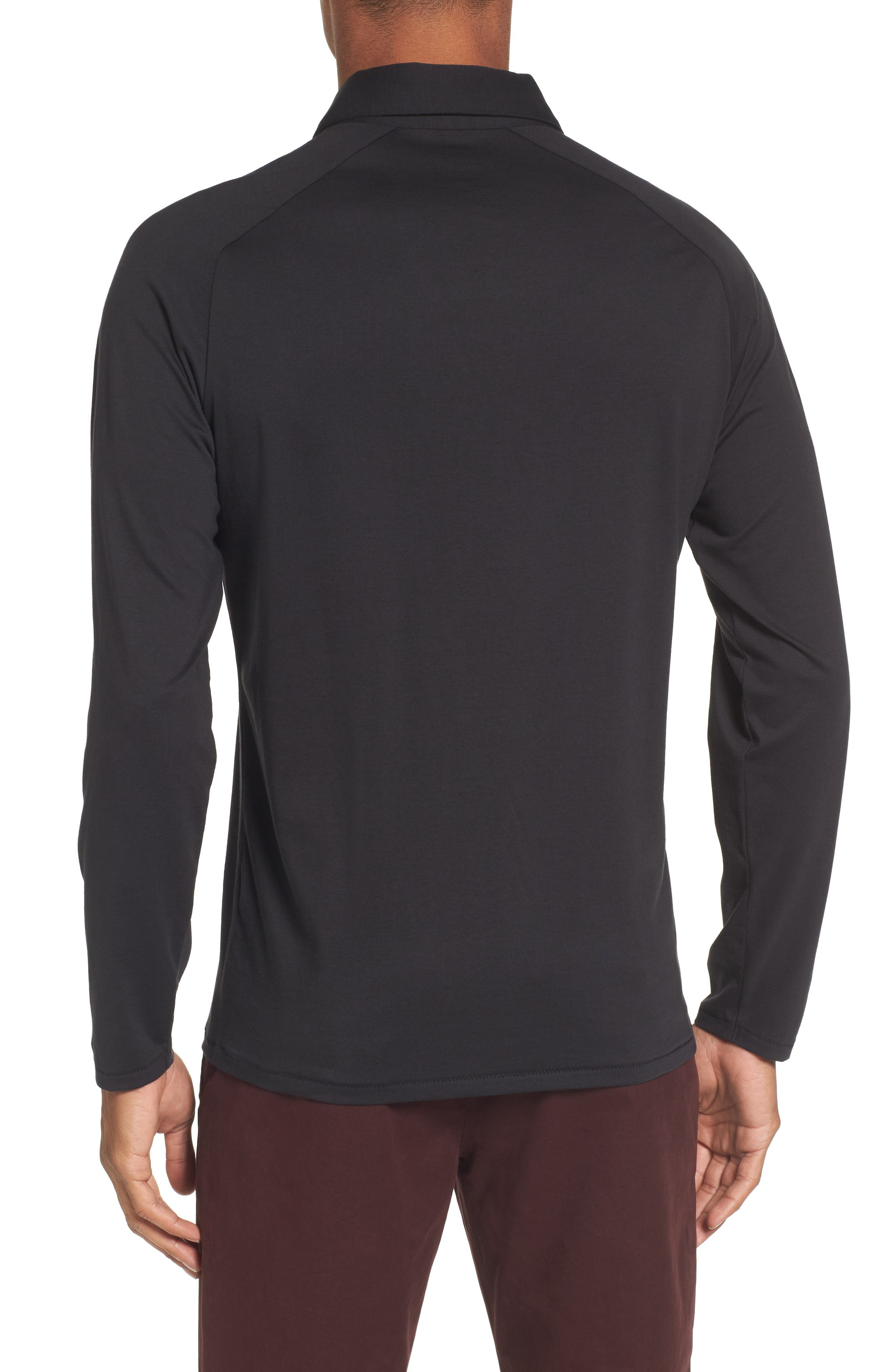 Superfine Slim Fit Long Sleeve Polo,                             Alternate thumbnail 2, color,                             Caviar Black