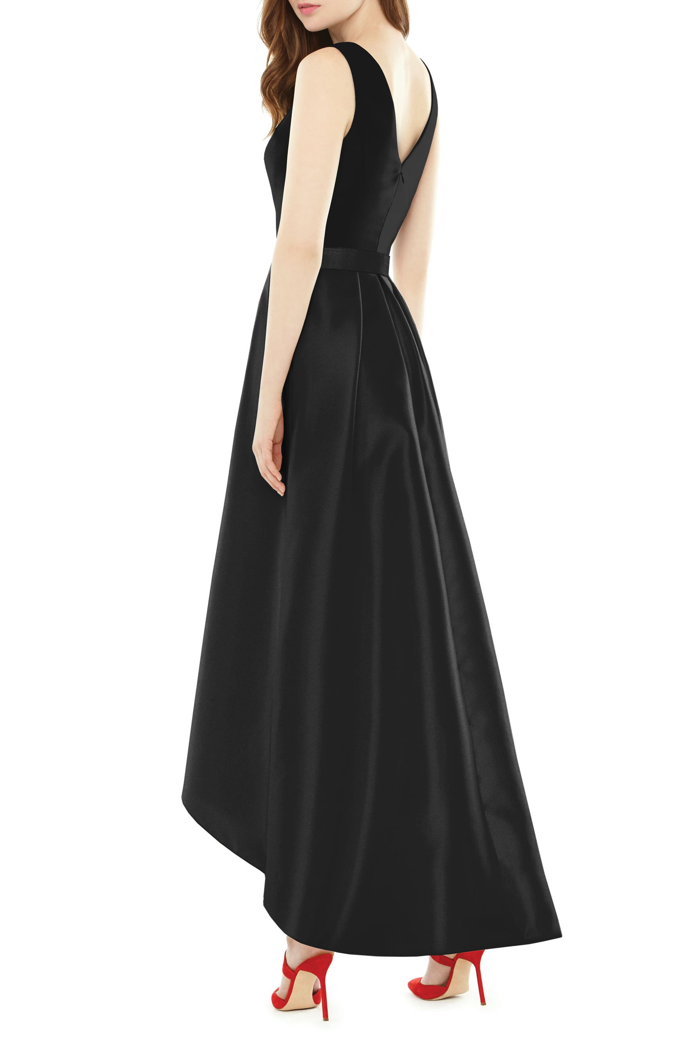 Alternate Image 2  - Alfred Sung High/Low Sateen Twill Gown