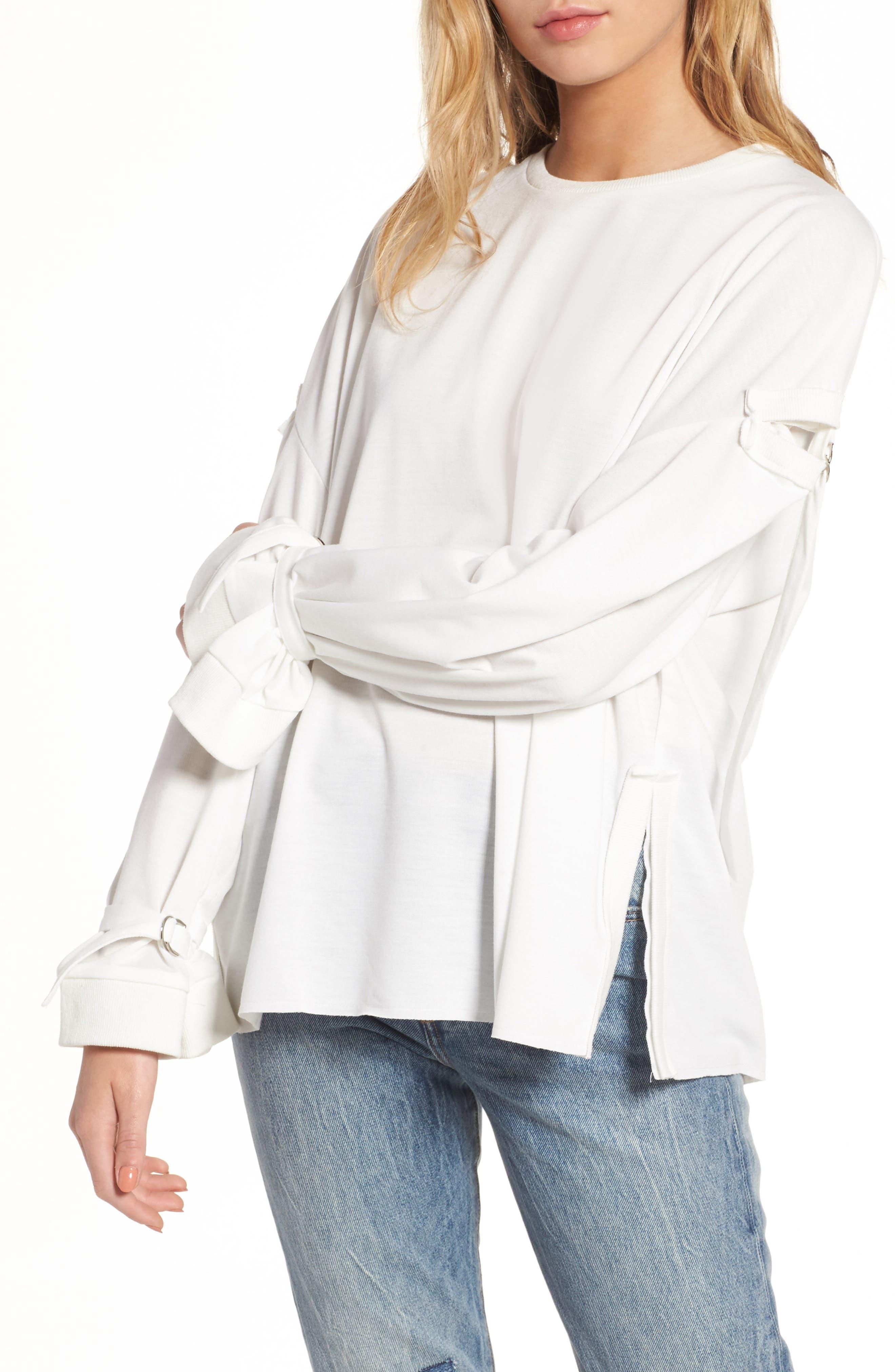 Cutout Detail Sweatshirt,                             Main thumbnail 1, color,                             White
