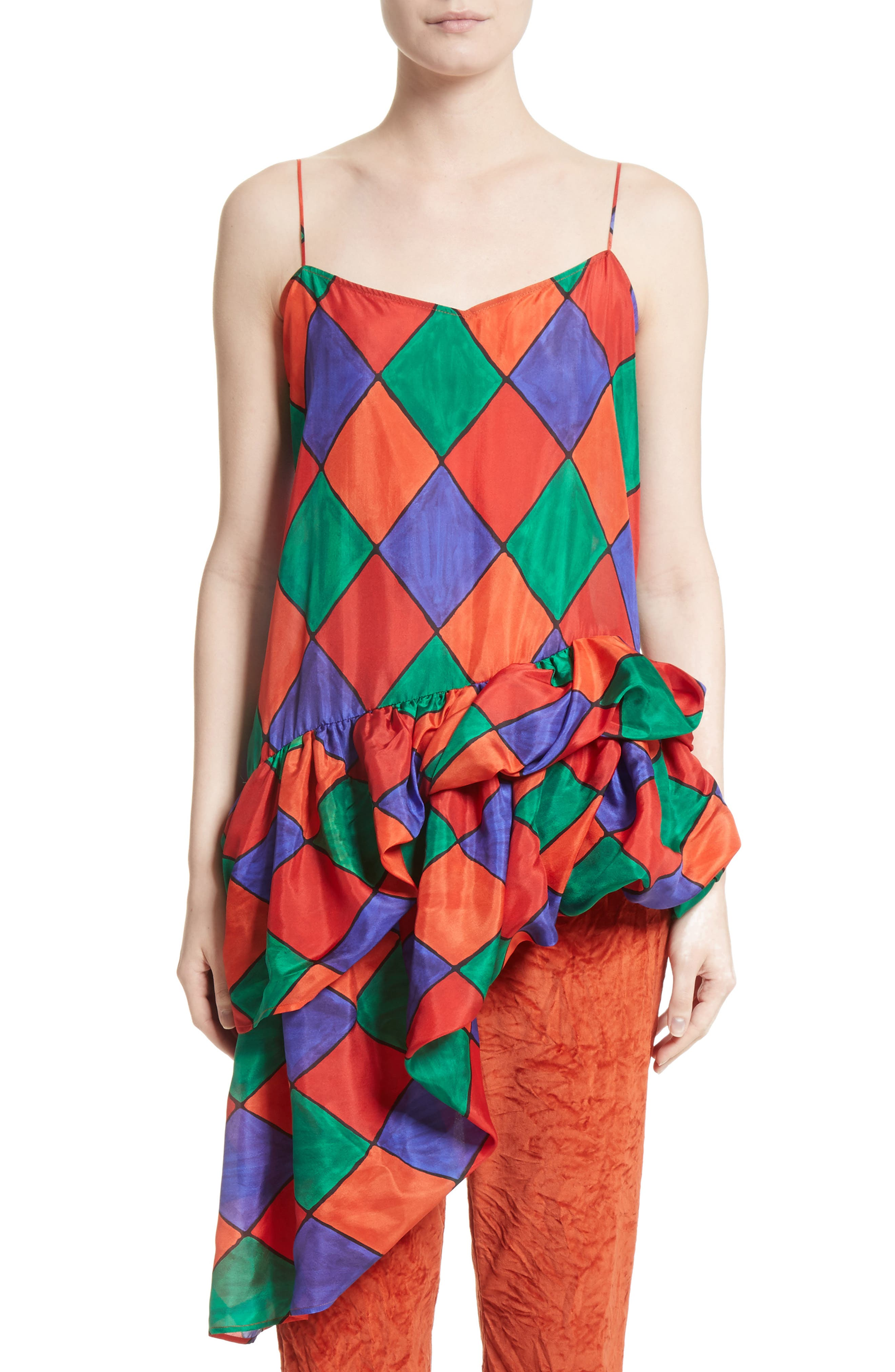 Fairy Asymmetrical Ruffle Silk Top,                             Main thumbnail 1, color,                             Carnival