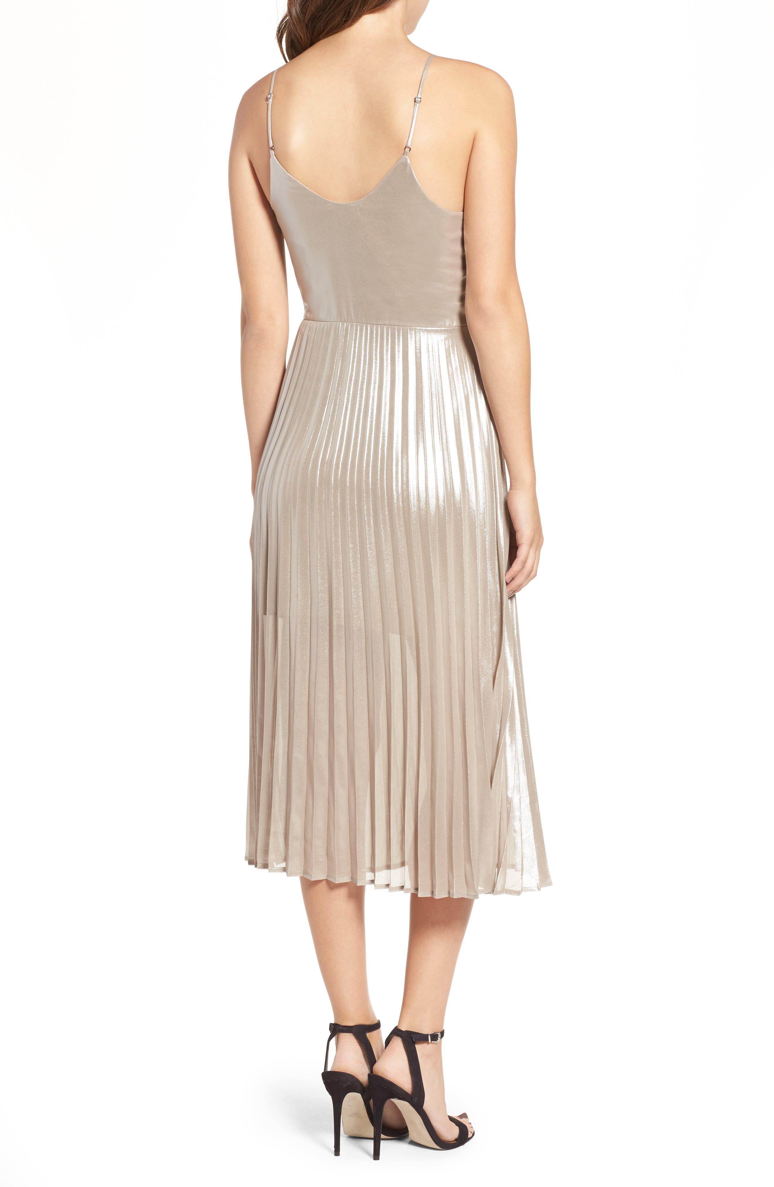 Alternate Image 2  - Love, Fire Metallic Pleated Midi Dress