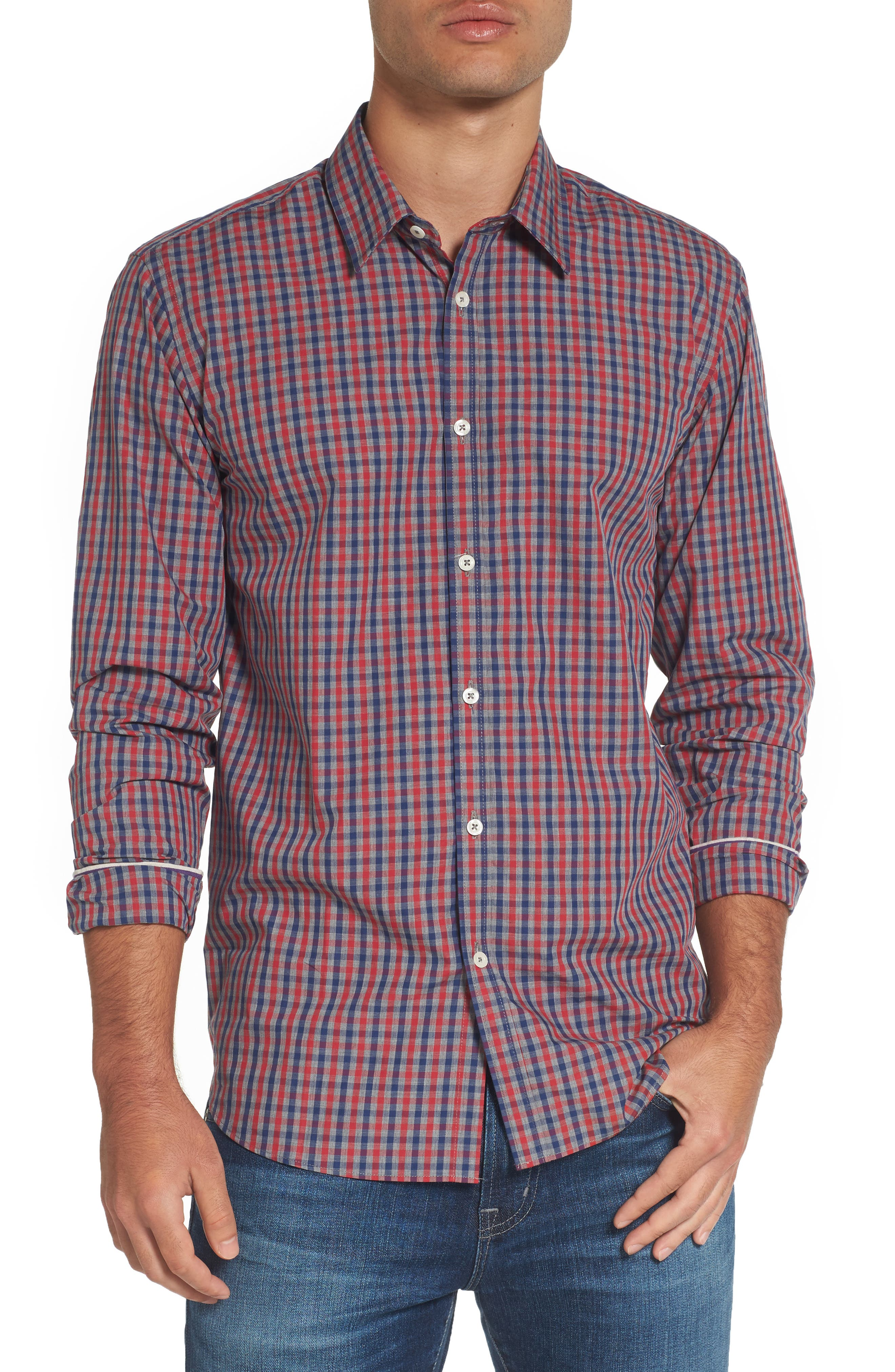 Comfort Fit Check Sport Shirt,                         Main,                         color, Bright Red