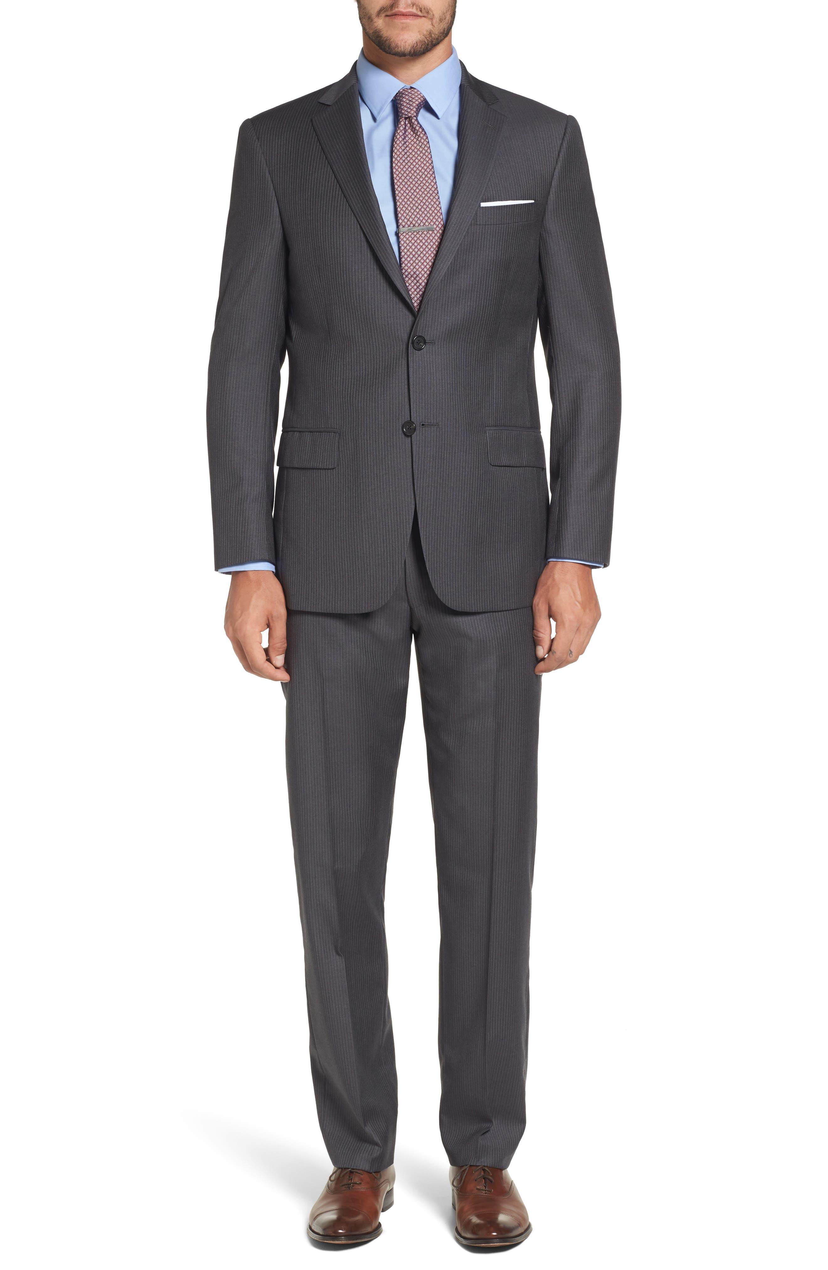 Classic Fit Stripe Wool Suit,                         Main,                         color, Medium Grey