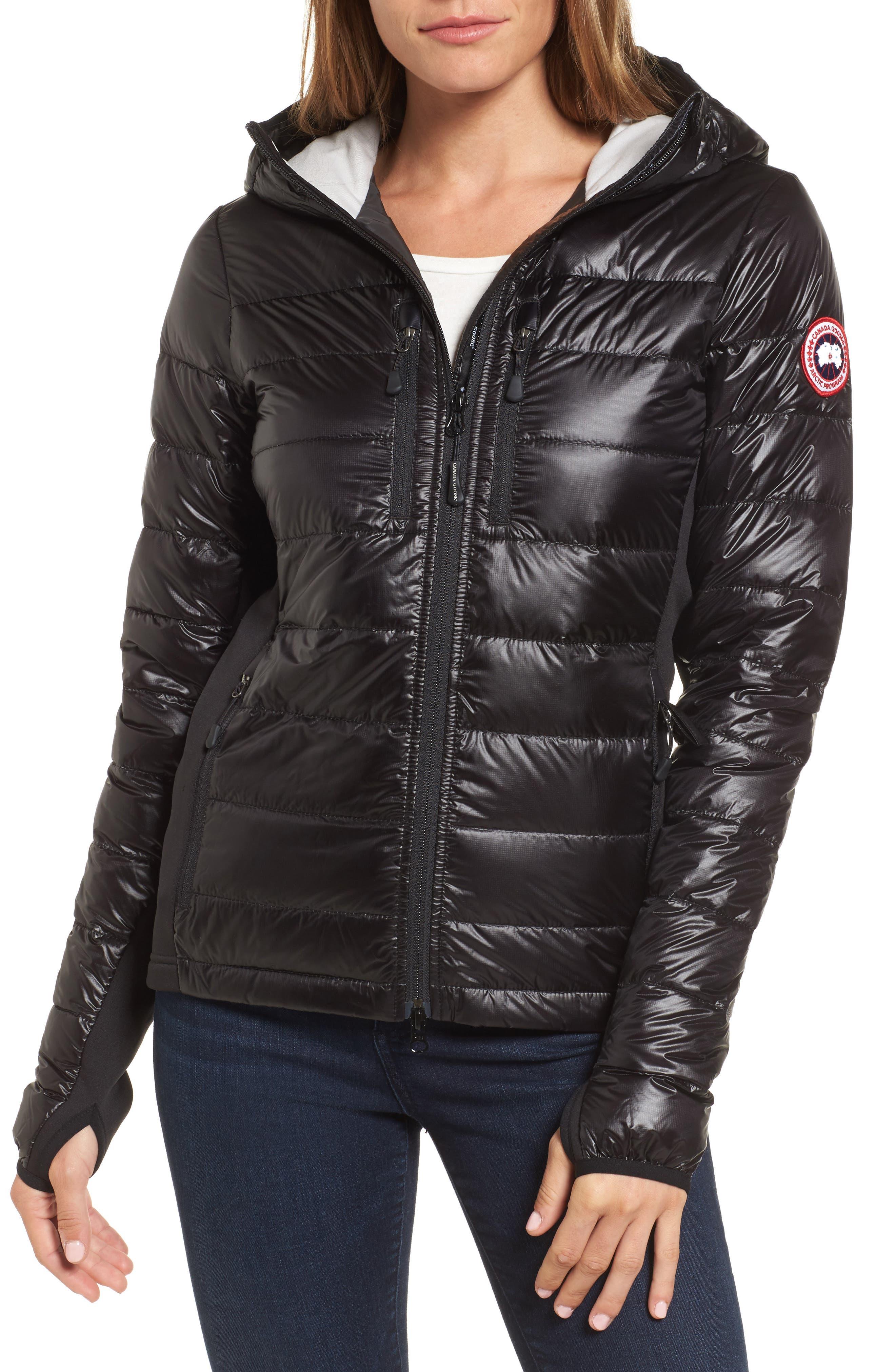 'Hybridge Lite' Slim Fit Hooded Packable Down Jacket,                         Main,                         color, Black/ Graphite