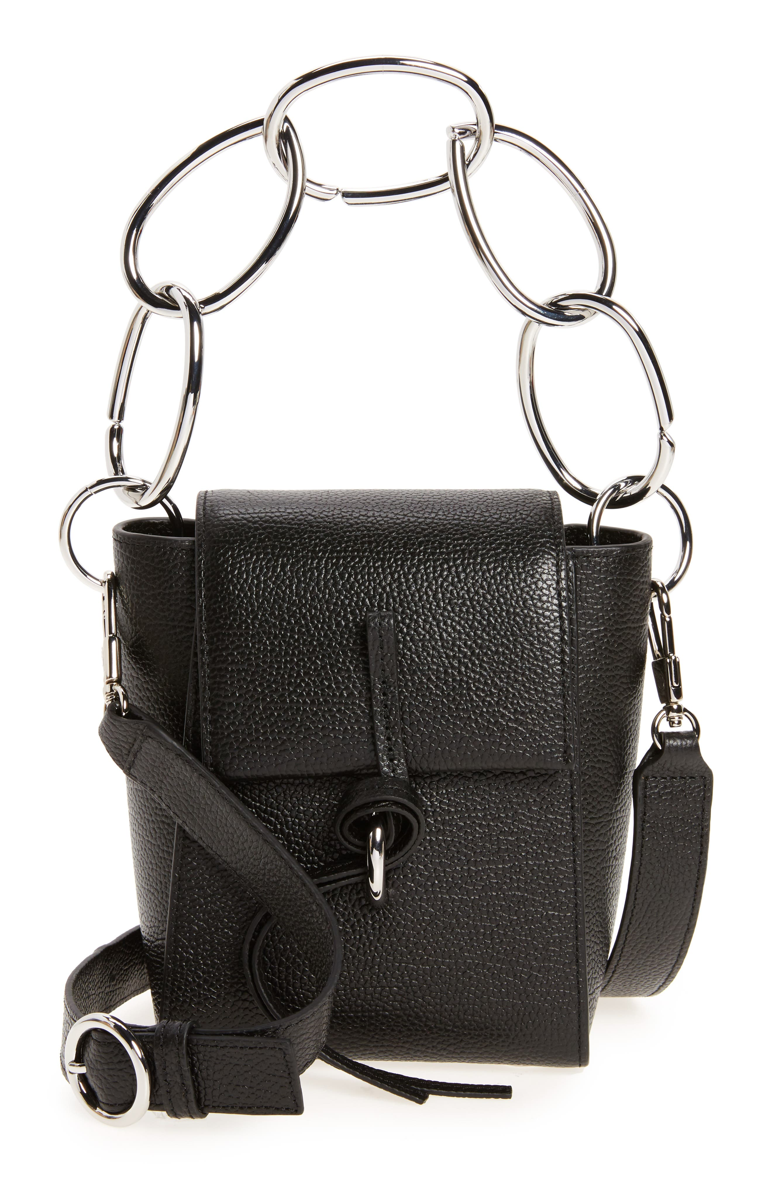 Small Leigh Top Handle Leather Satchel,                             Main thumbnail 1, color,                             Black