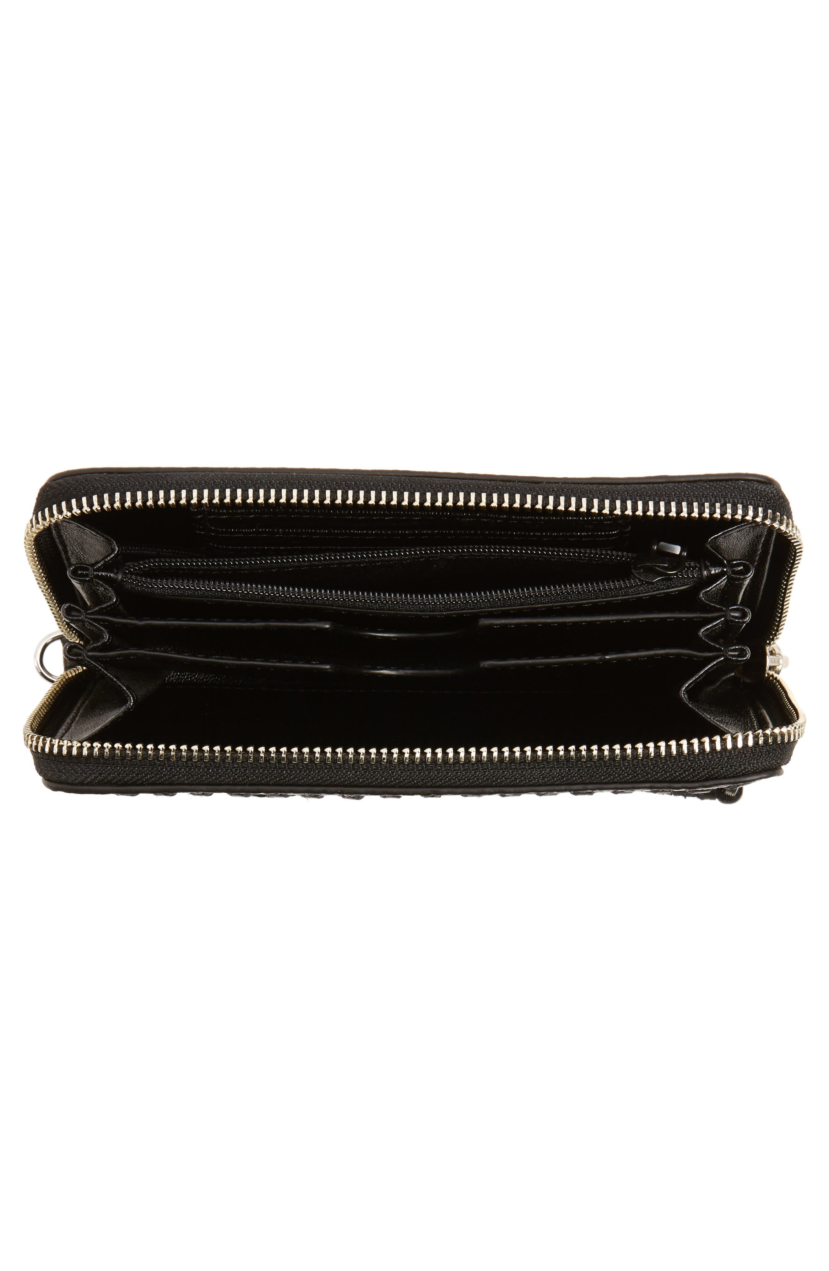 Vanity Leather Phone Wallet,                             Alternate thumbnail 2, color,                             Black