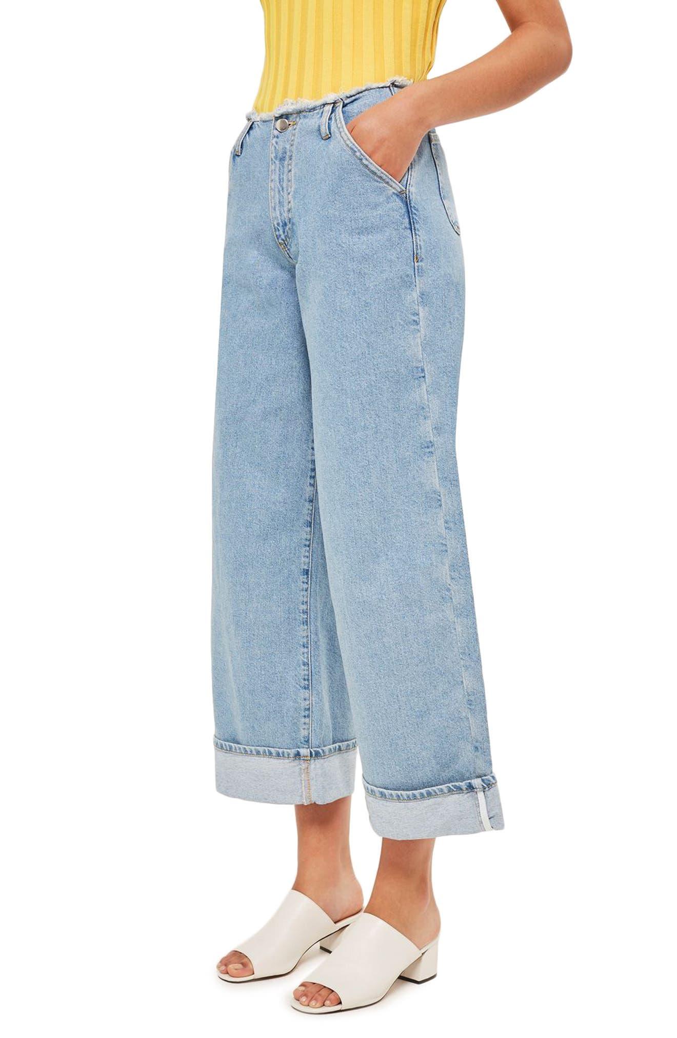 Alternate Image 3  - Topshop Boutique Frayed Waist Super Wide Leg Jeans