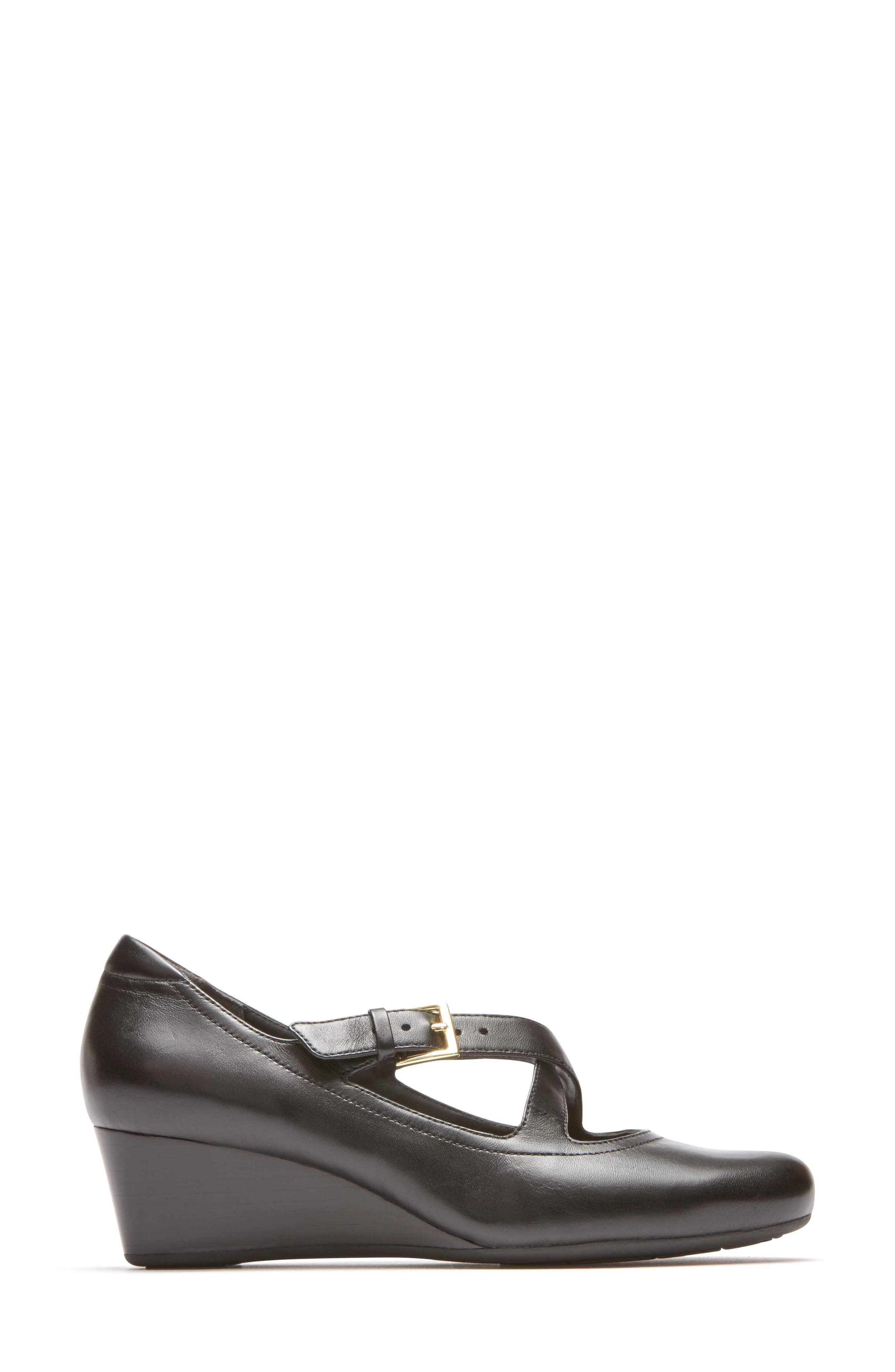 Total Motion Luxe Two-Strap Wedge,                             Alternate thumbnail 3, color,                             Black Leather