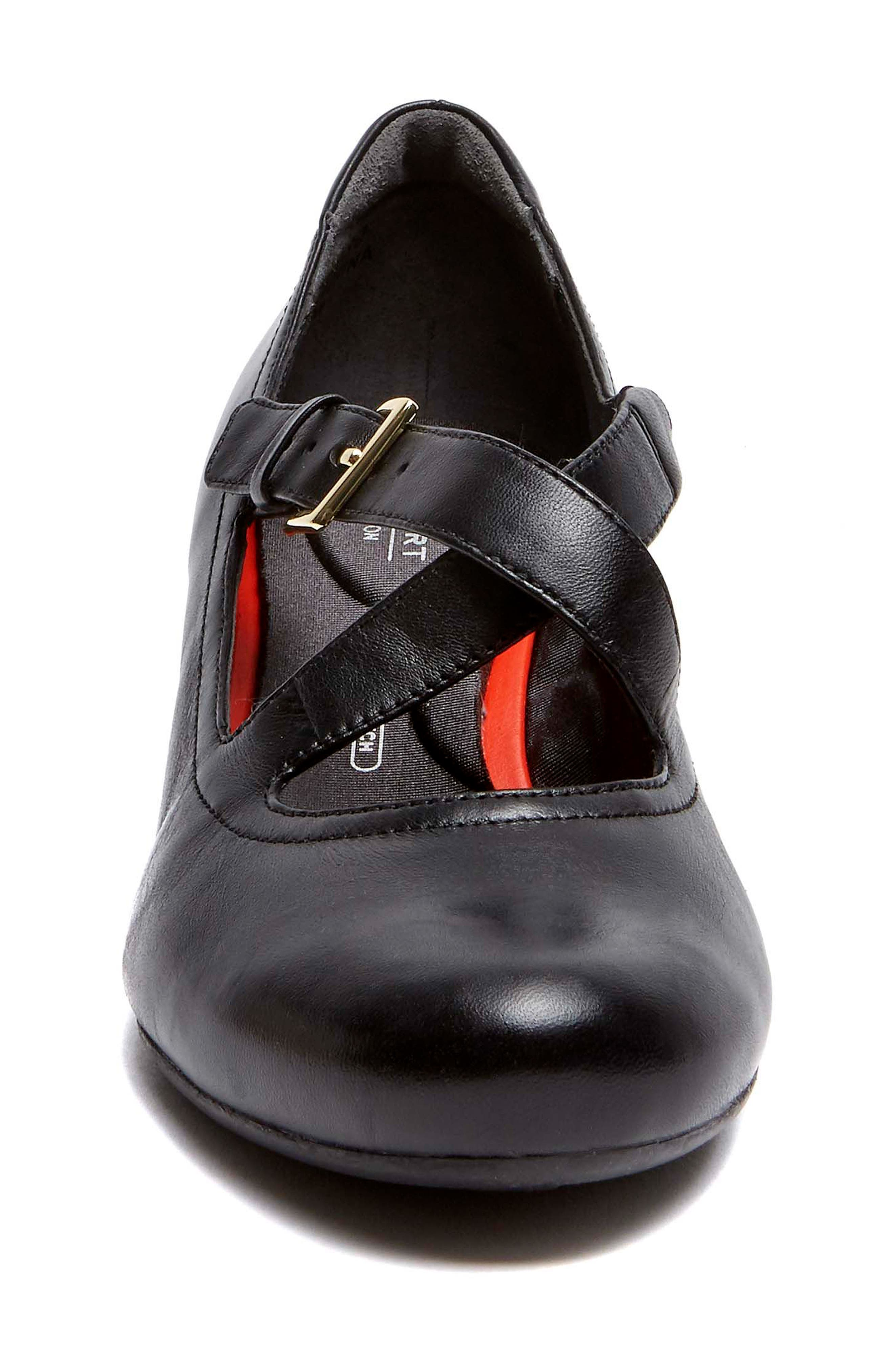 Total Motion Luxe Two-Strap Wedge,                             Alternate thumbnail 4, color,                             Black Leather