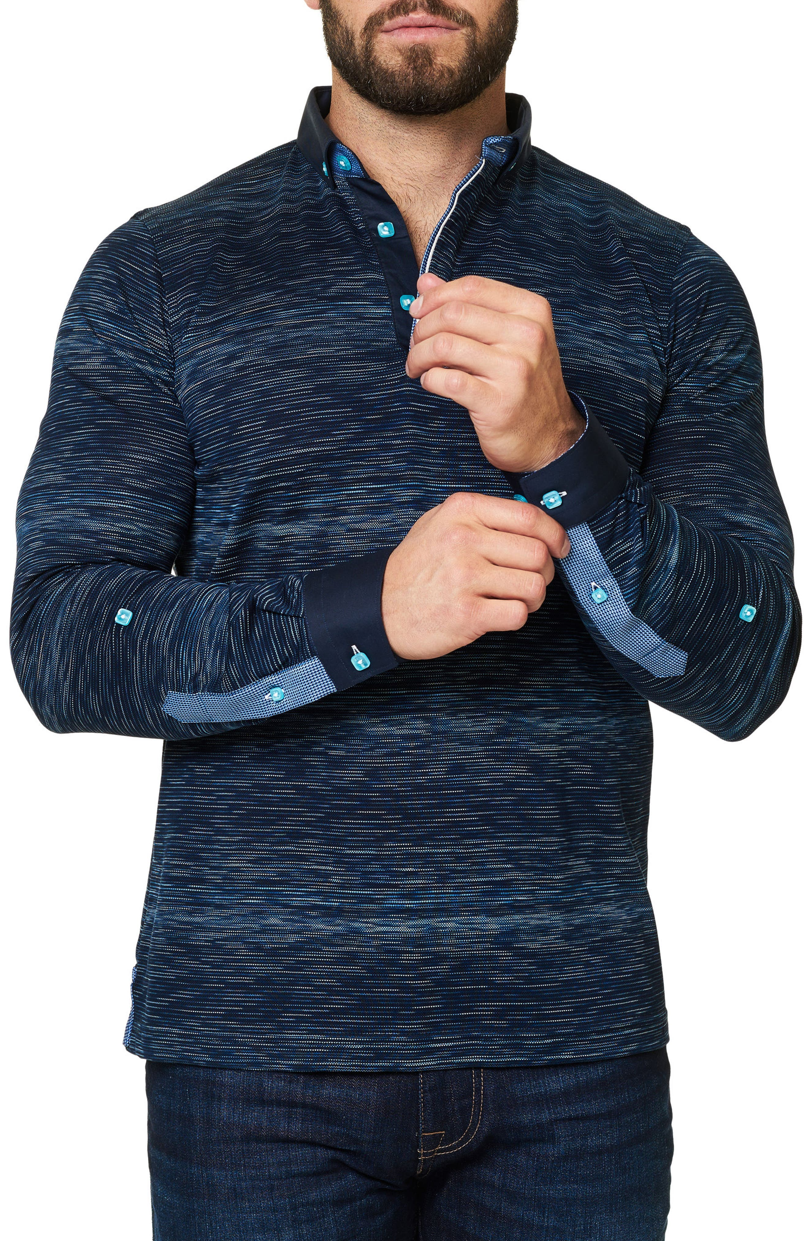 Slim Fit Woven Trim Long Sleeve Polo,                             Alternate thumbnail 3, color,                             Navy