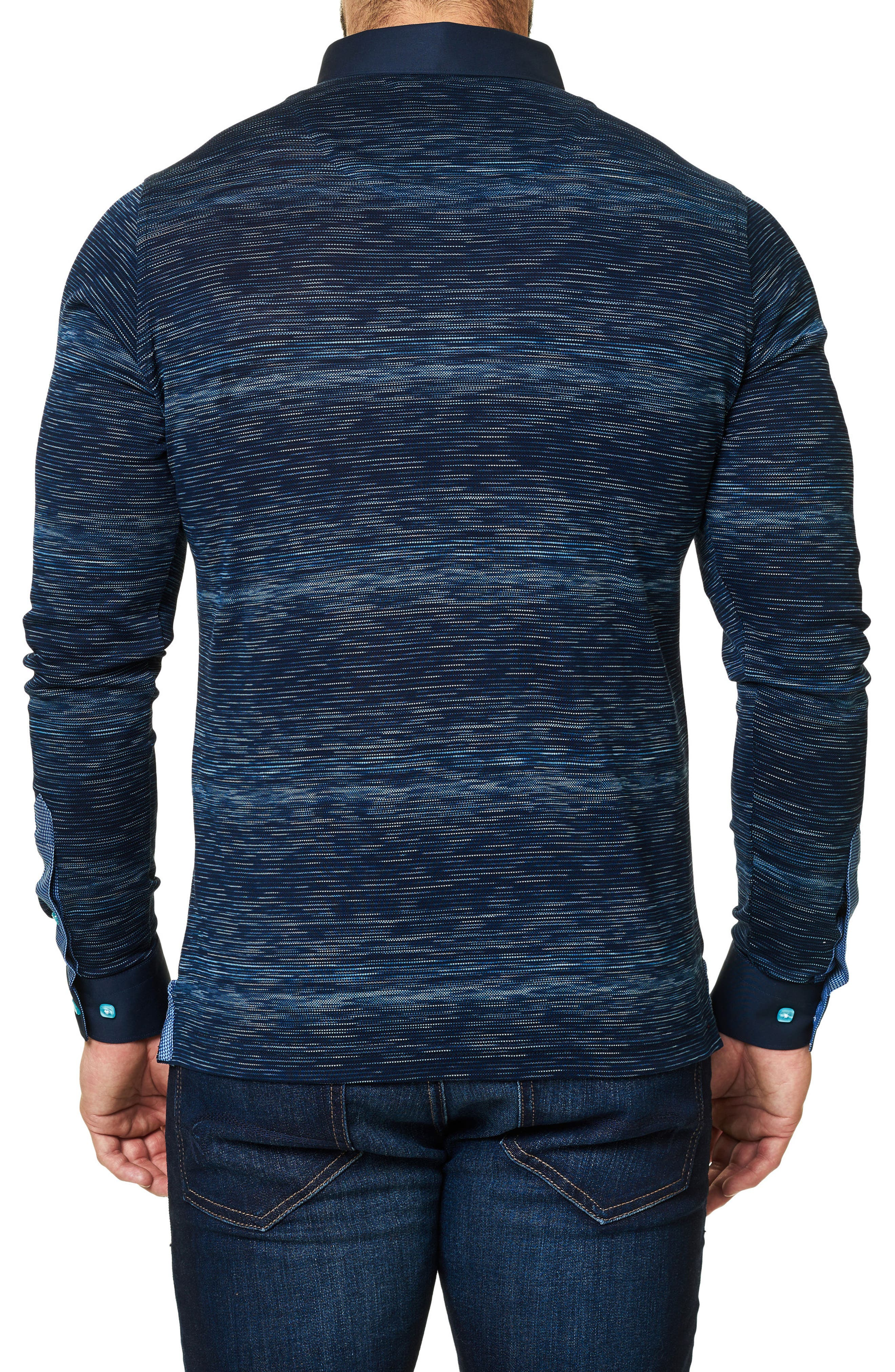 Slim Fit Woven Trim Long Sleeve Polo,                             Alternate thumbnail 2, color,                             Navy