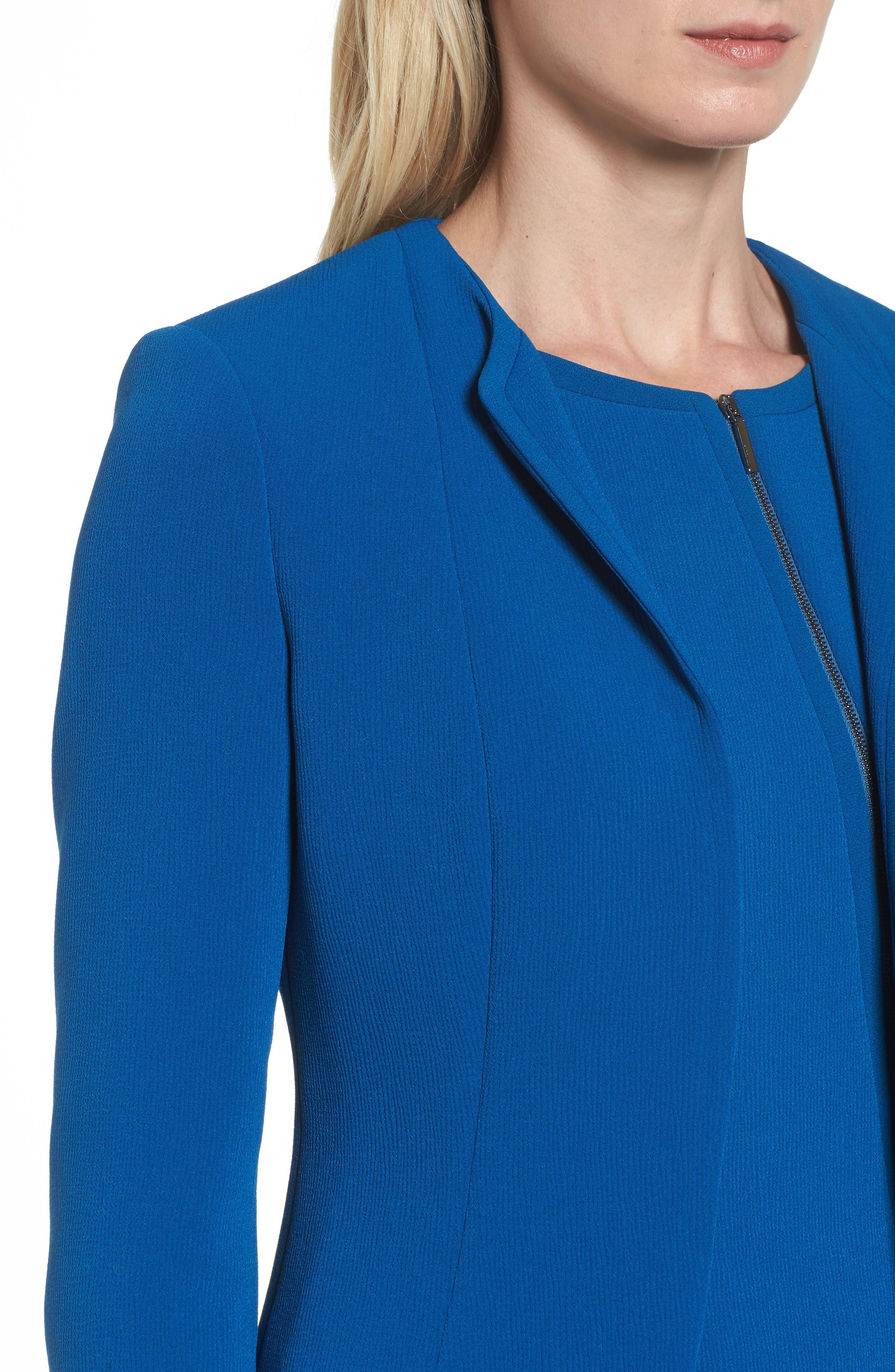 Jerusa Crop Suit Jacket,                             Alternate thumbnail 4, color,                             Gentian Blue