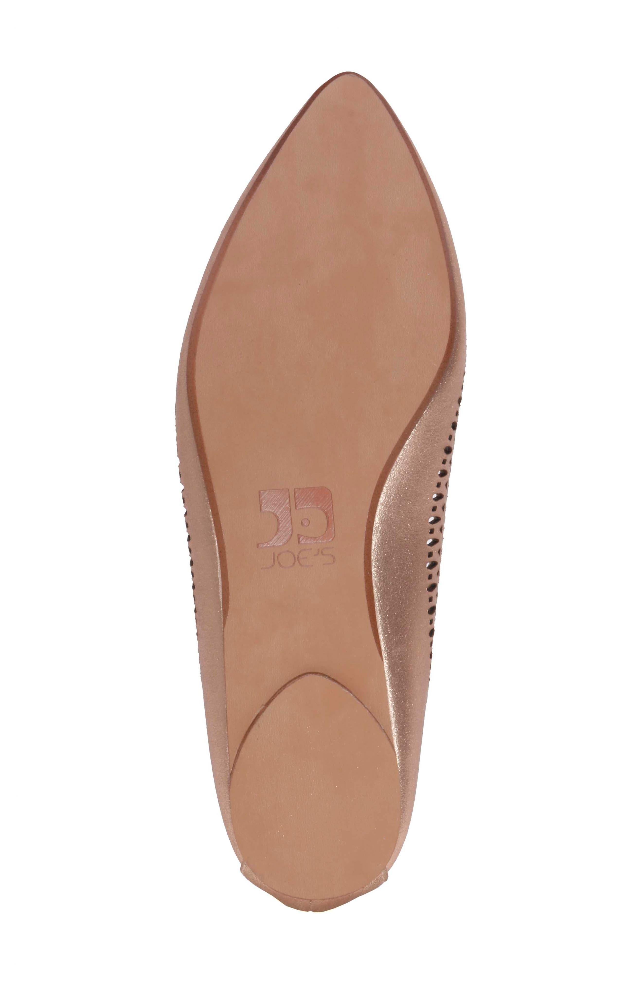 Cora Flat,                             Alternate thumbnail 5, color,                             Rose Gold Leather