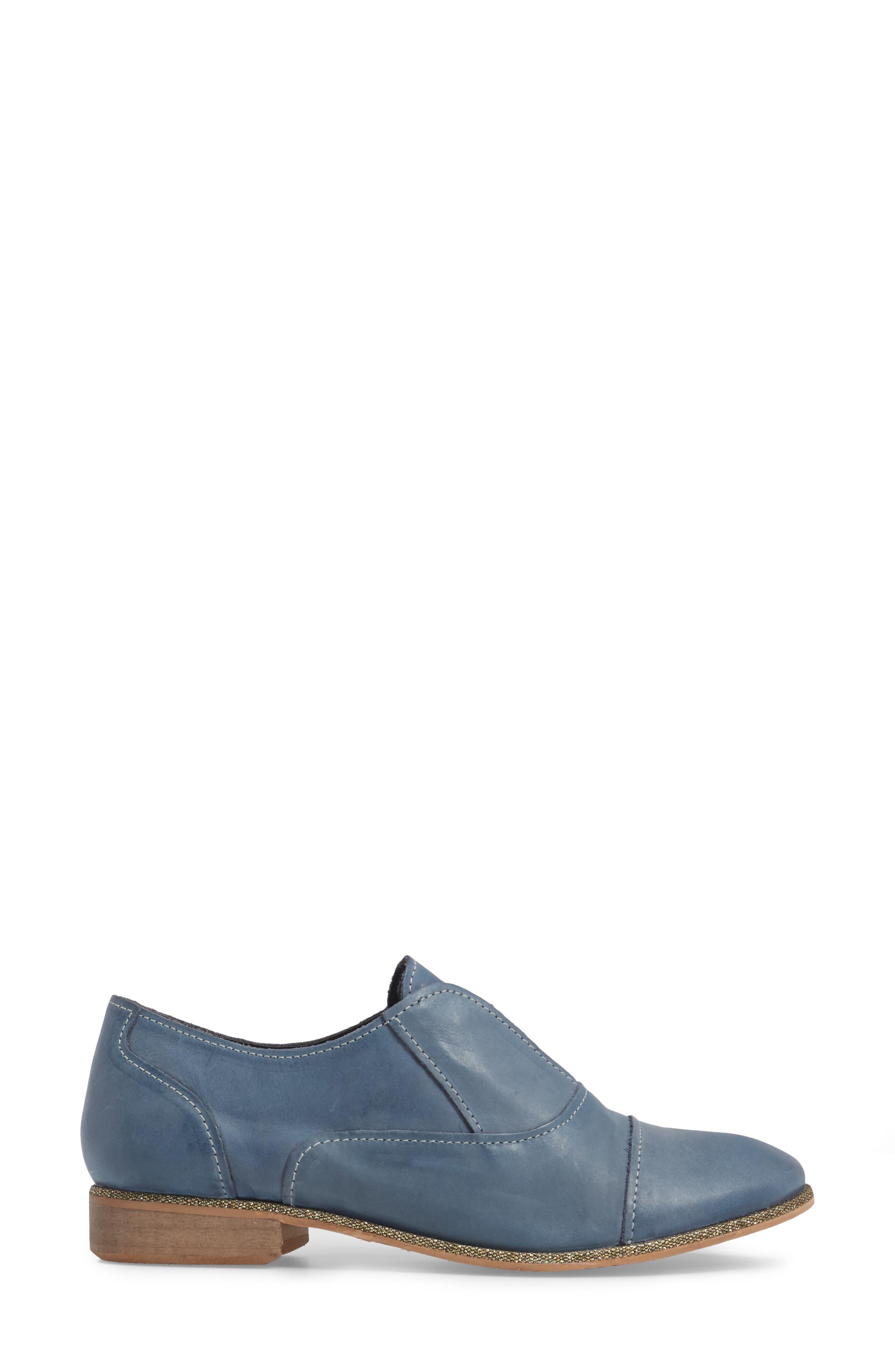 Slip Knot Loafer,                             Alternate thumbnail 3, color,                             Blue Leather