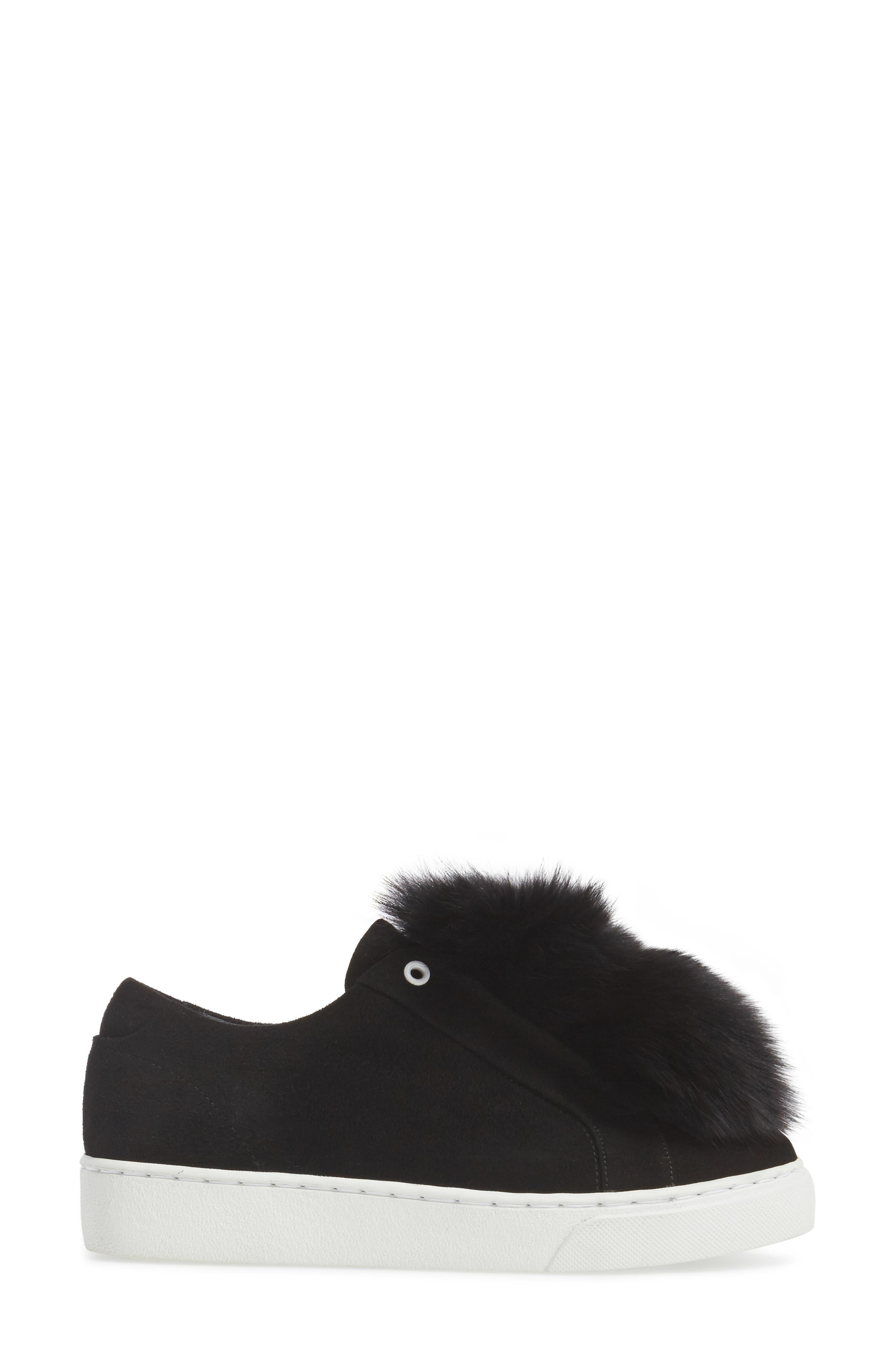 Raven Genuine Fox Fur Trim Sneaker,                             Alternate thumbnail 3, color,                             Black Suede