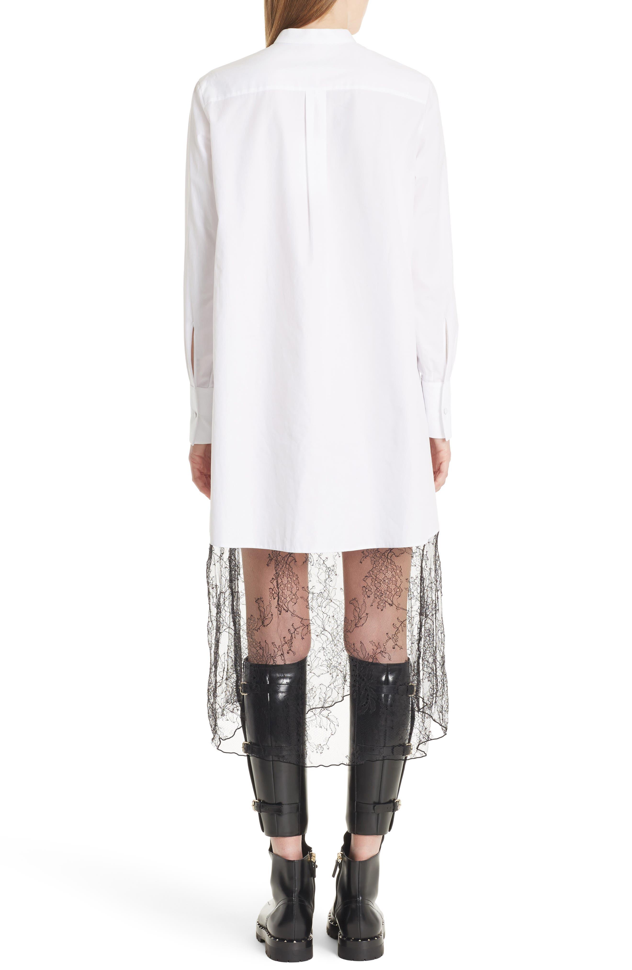 Lace Hem Cotton Poplin Shirtdress,                             Alternate thumbnail 2, color,                             White/ Black