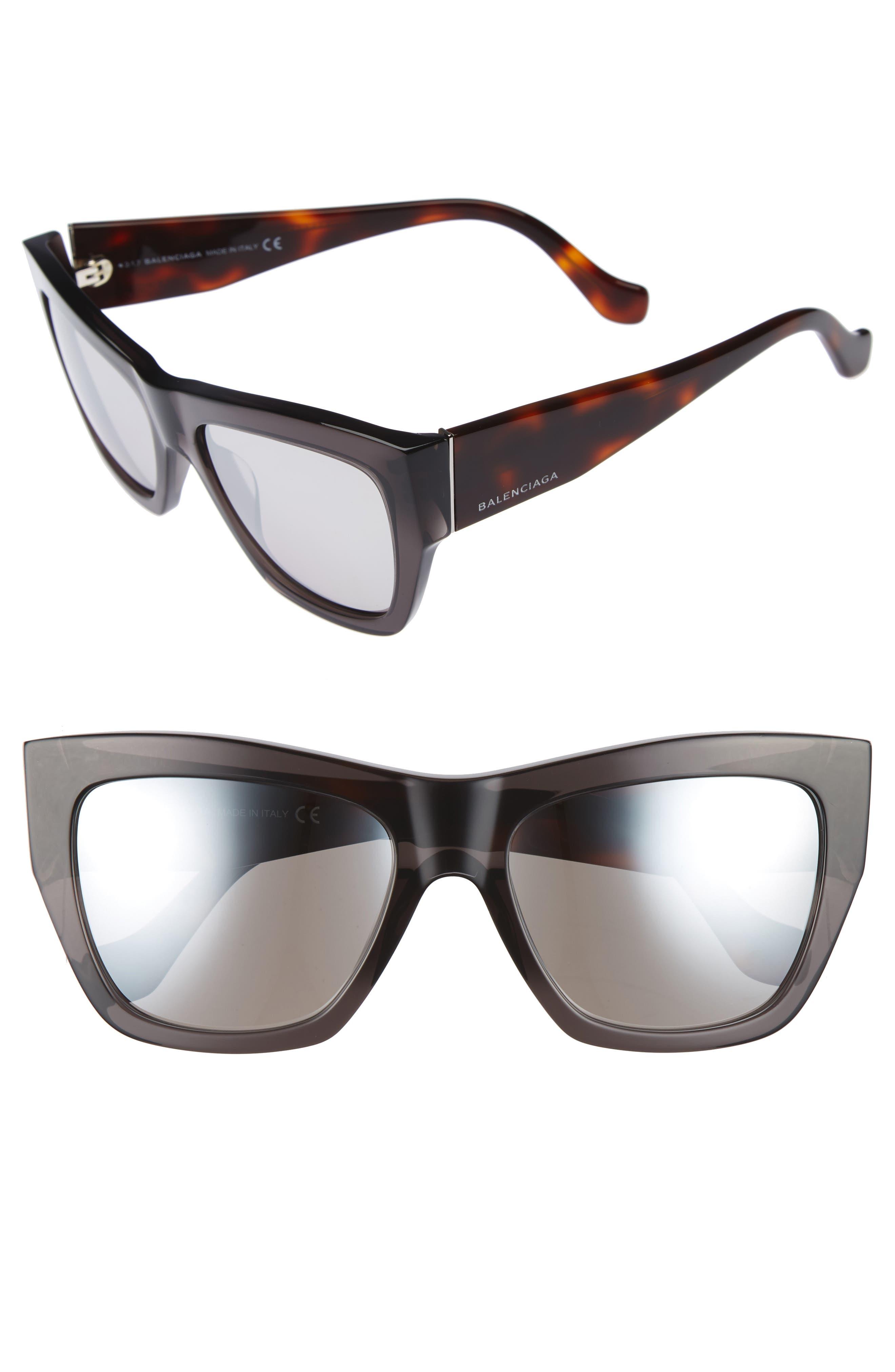 56mm Cat Eye Sunglasses,                         Main,                         color, Grey/ Smoke Mirror