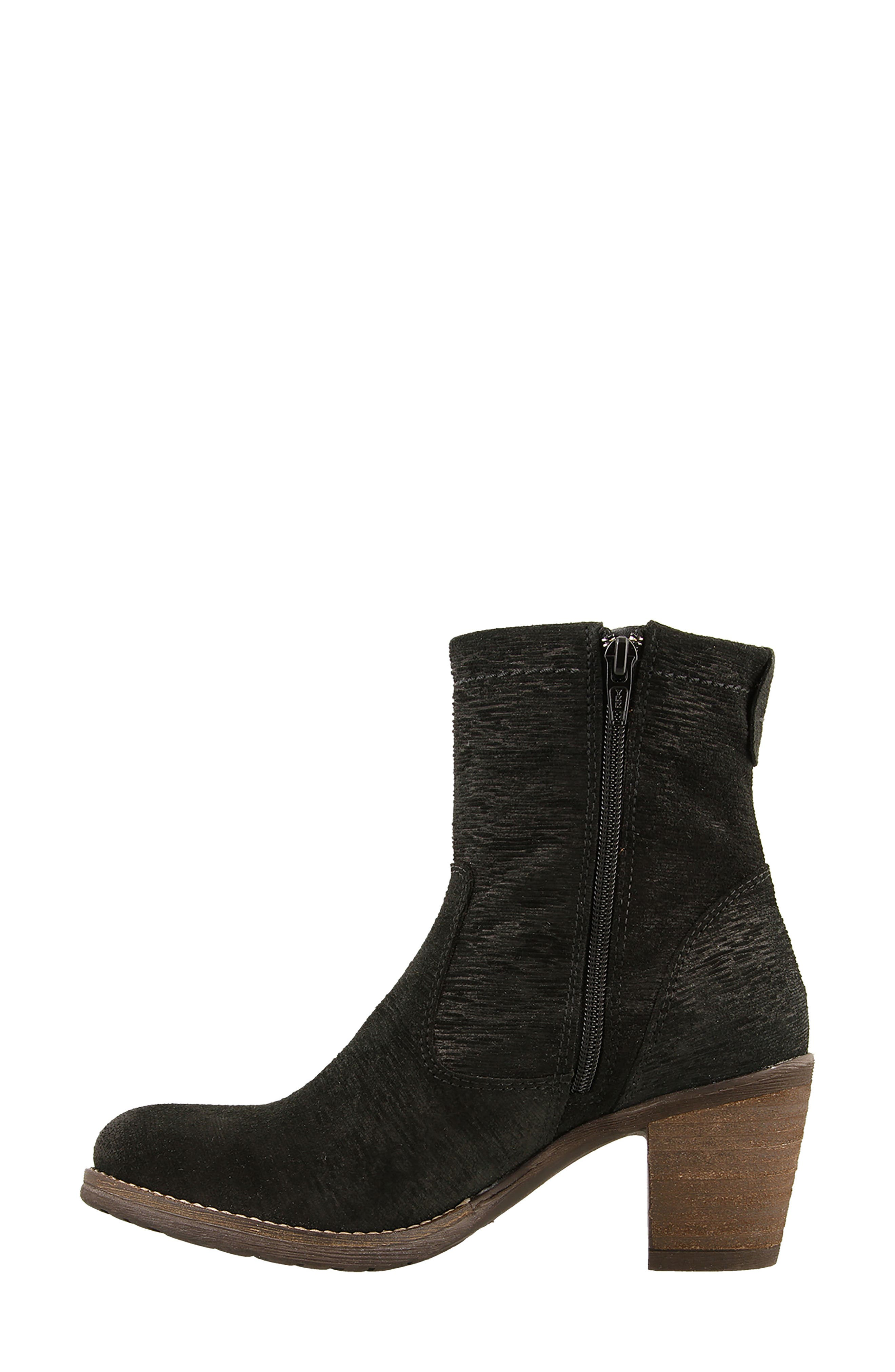 Shaka 2 Embossed Faux Fur Lined Bootie,                             Alternate thumbnail 4, color,                             Black Emboss Suede