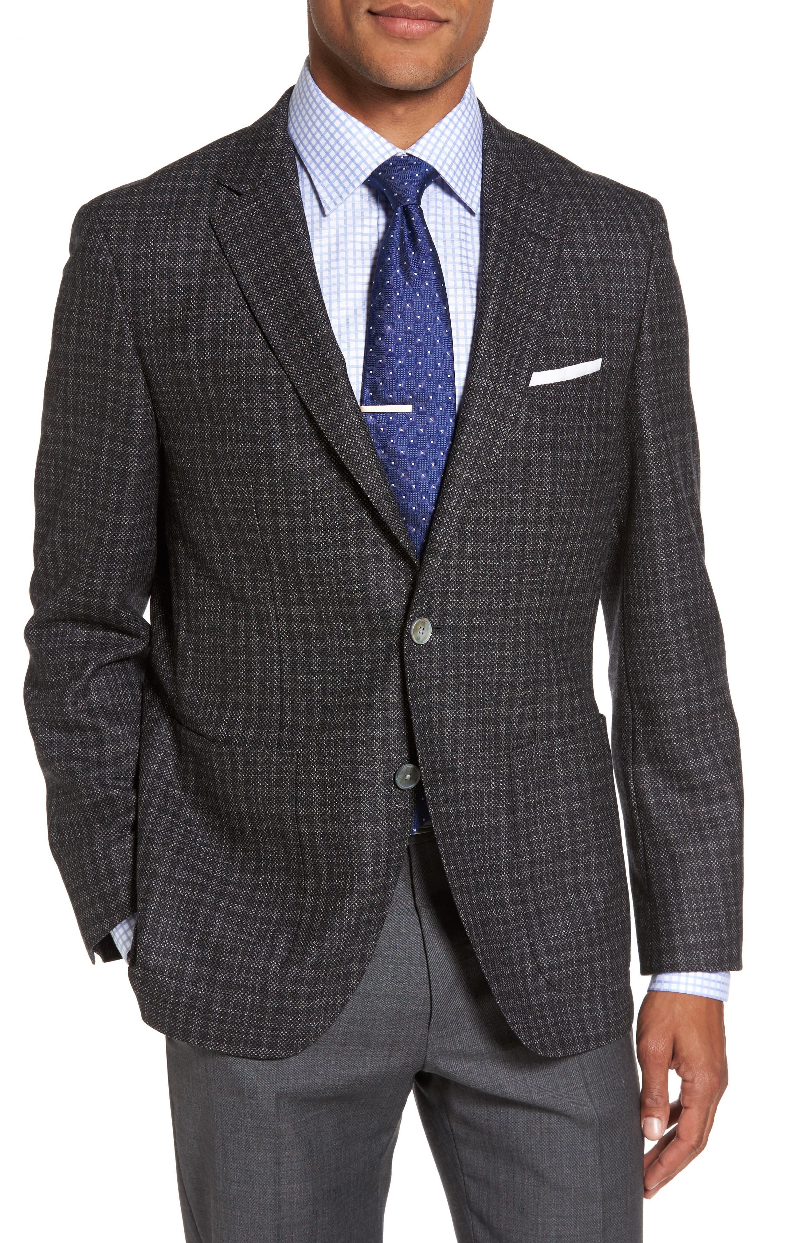 Janson Trim Fit Plaid Wool Sport Coat,                         Main,                         color, Open Grey