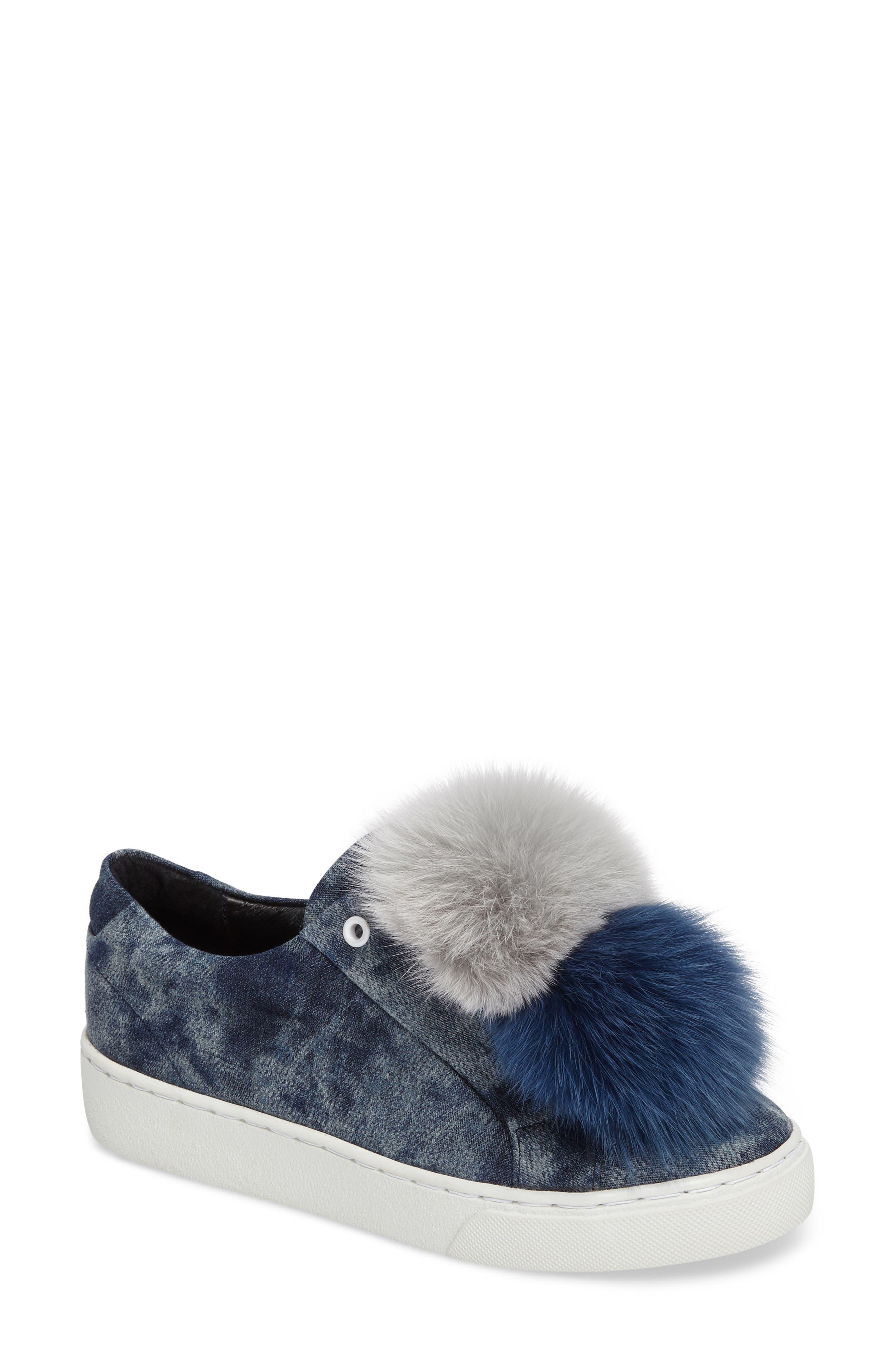 Joey Genuine Fox Fur Trim Sneaker,                         Main,                         color, Blue Tiedye Denim