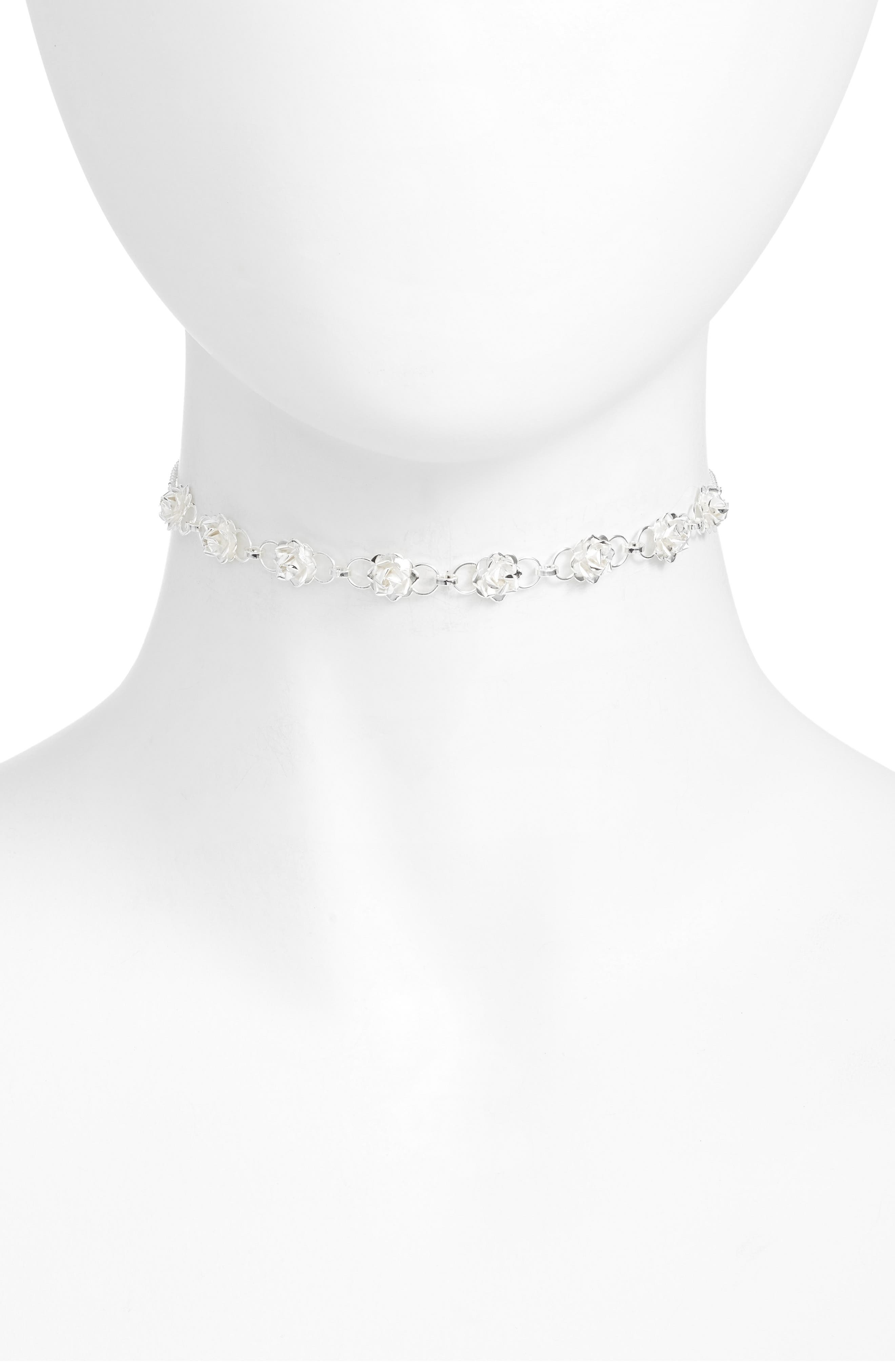 Rose Station Choker Necklace,                         Main,                         color, Silver