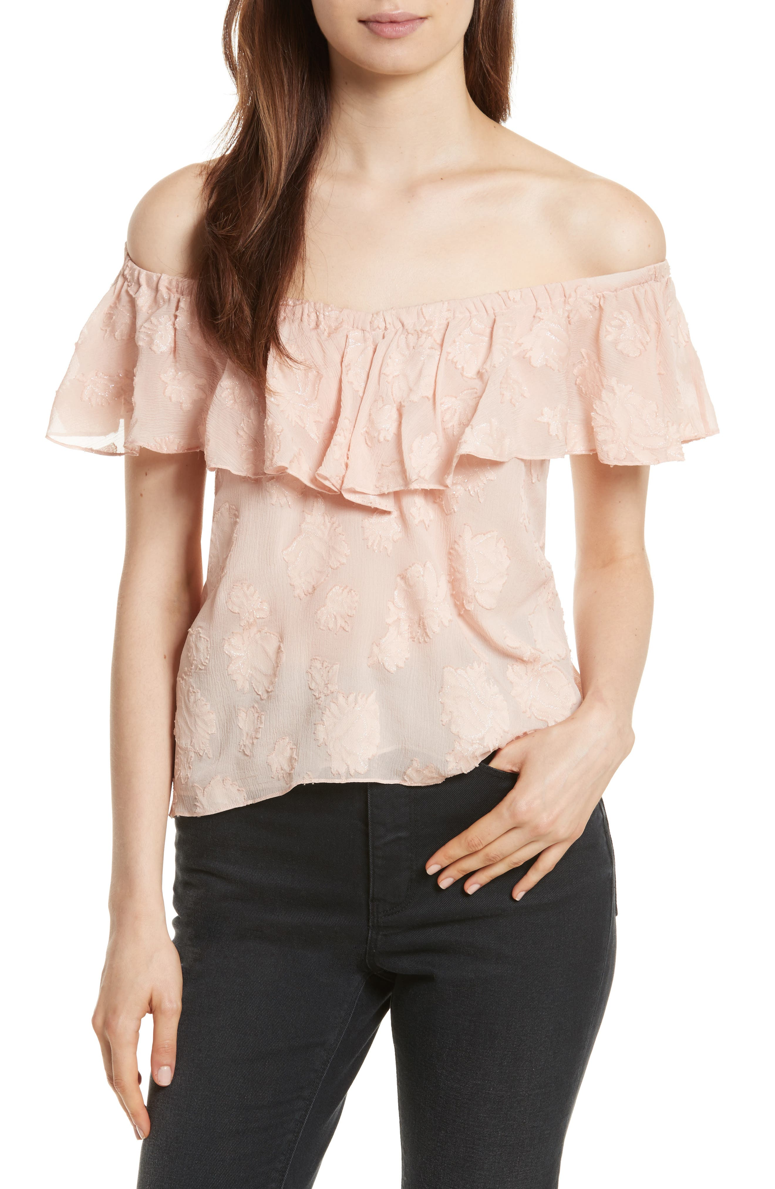 Alternate Image 1 Selected - Rebecca Taylor Rose Metallic Top