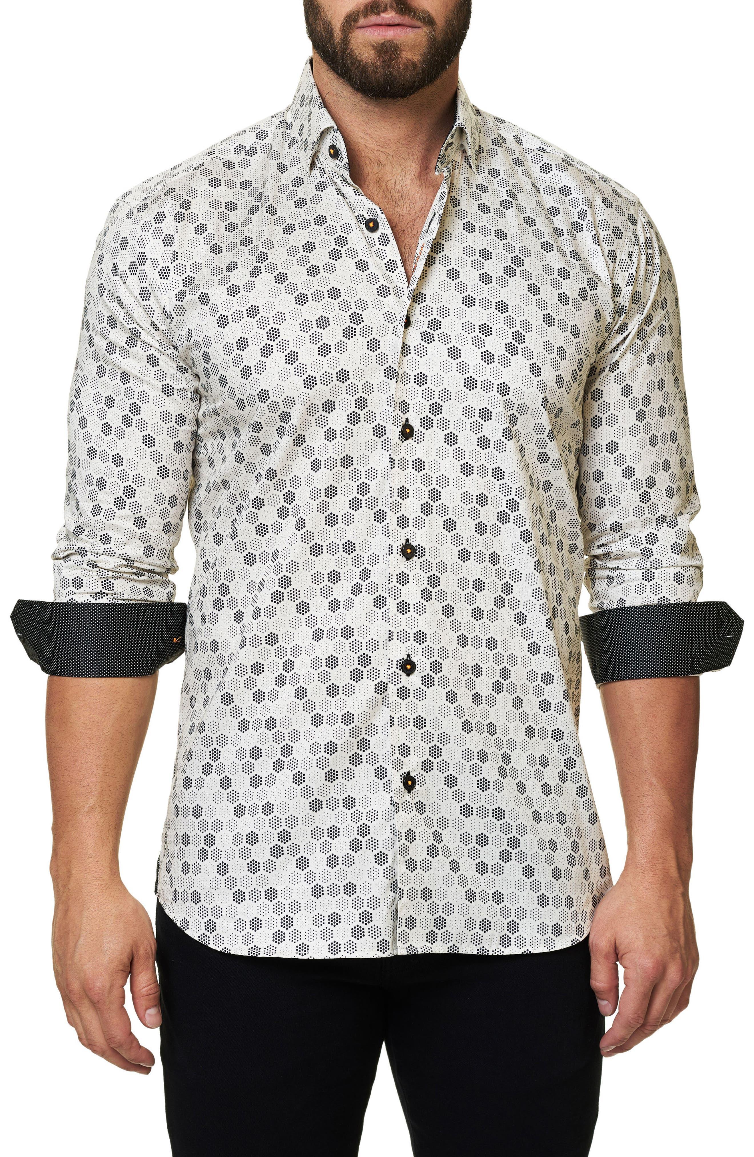 Trim Fit Geo Print Sport Shirt,                             Main thumbnail 1, color,                             White