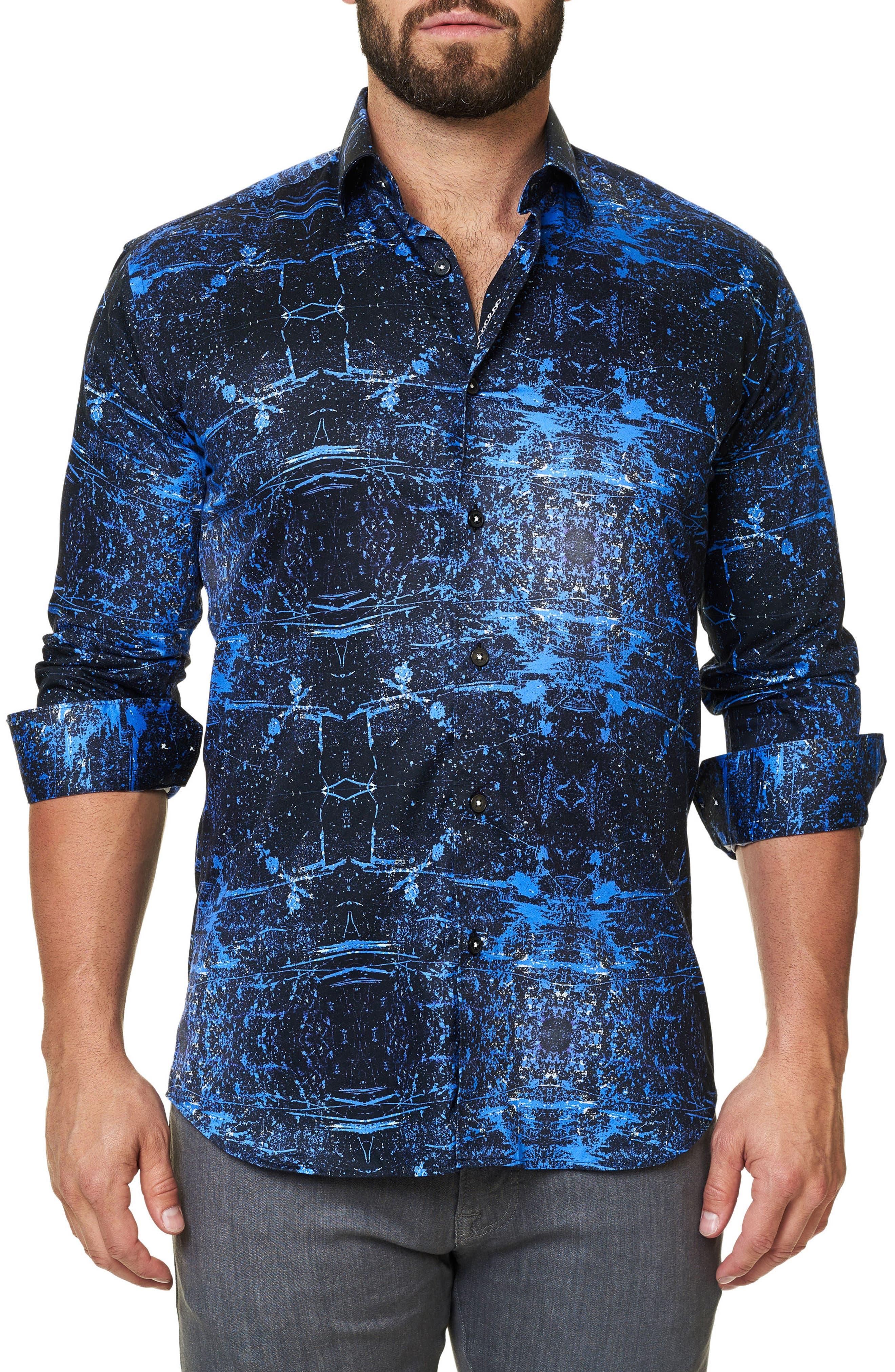 Trim Fit Print Sport Shirt,                         Main,                         color, Blue