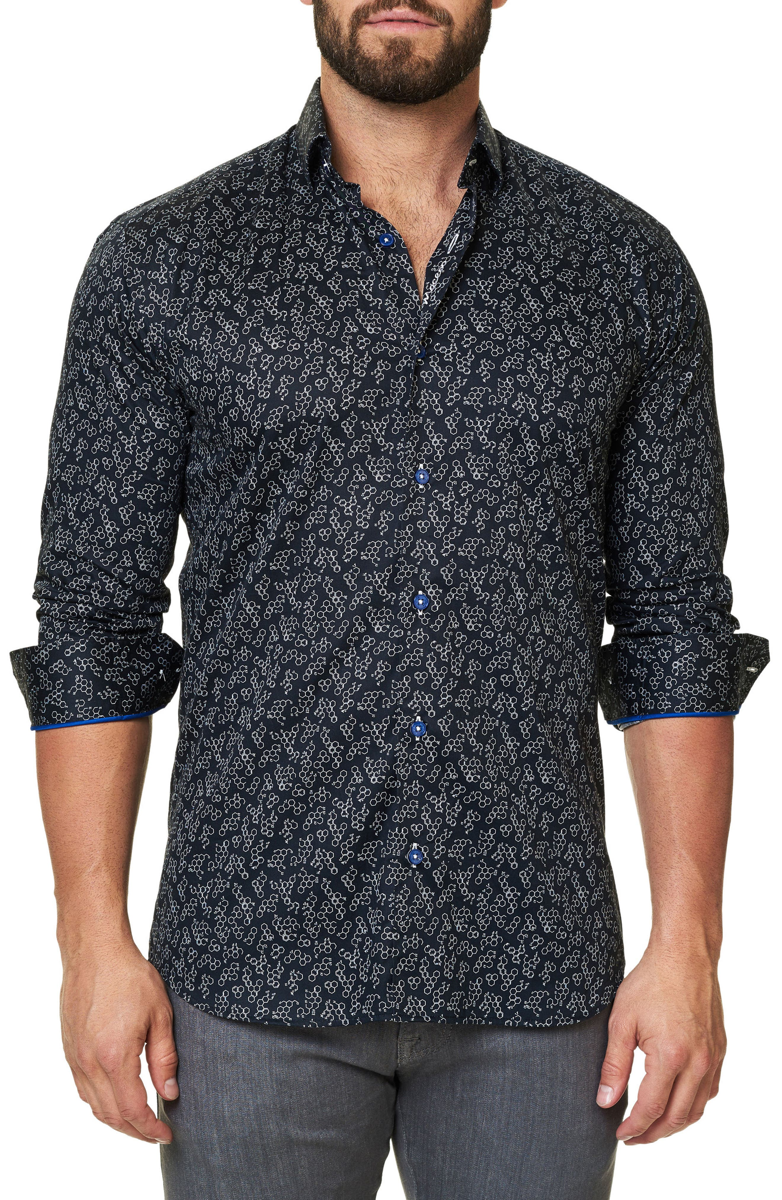Alternate Image 3  - Maceoo Luxor Funky Chemistry Trim Fit Sport Shirt