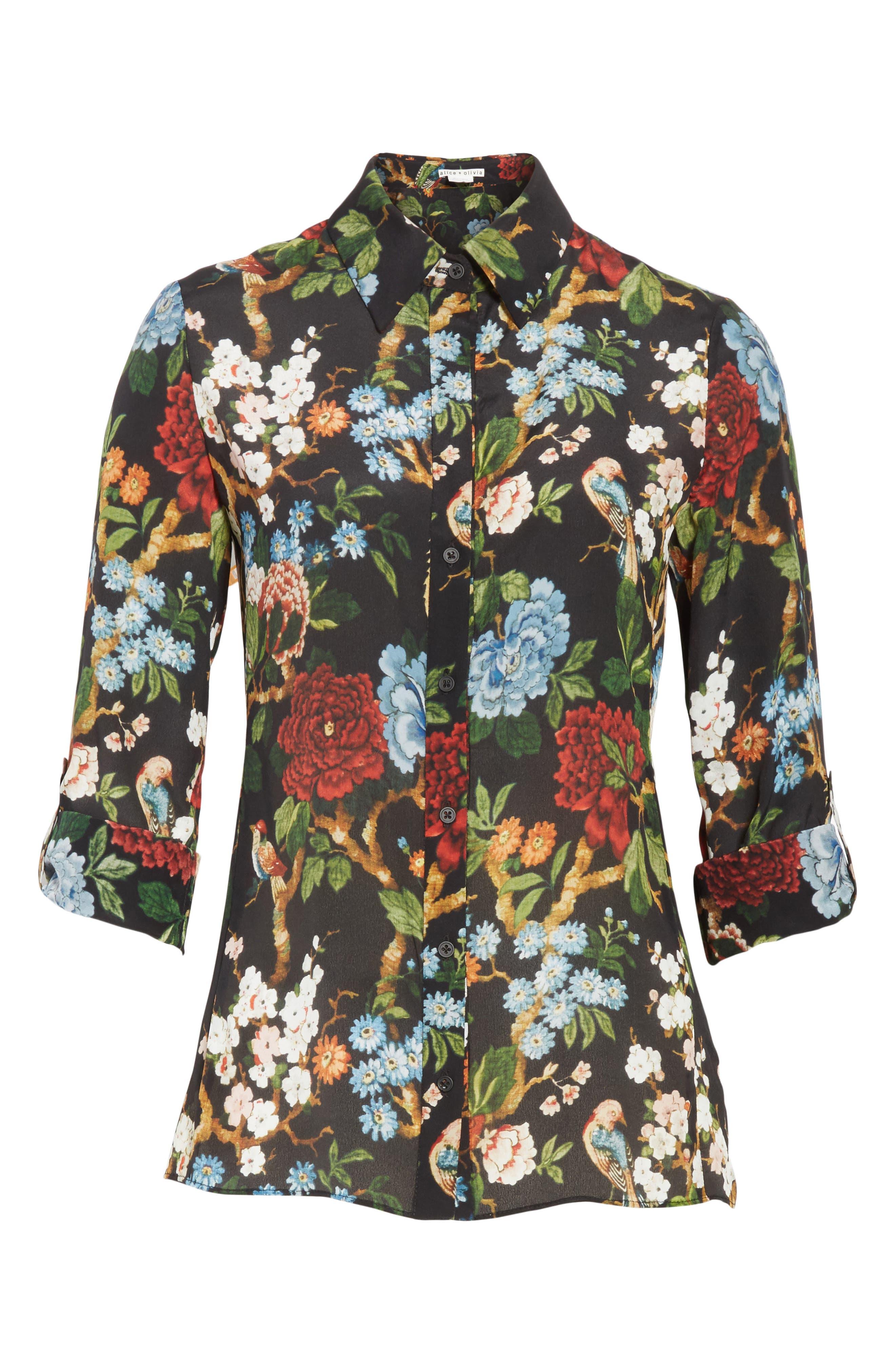 Alternate Image 6  - Alice + Olivia Cal Print Silk Shirt