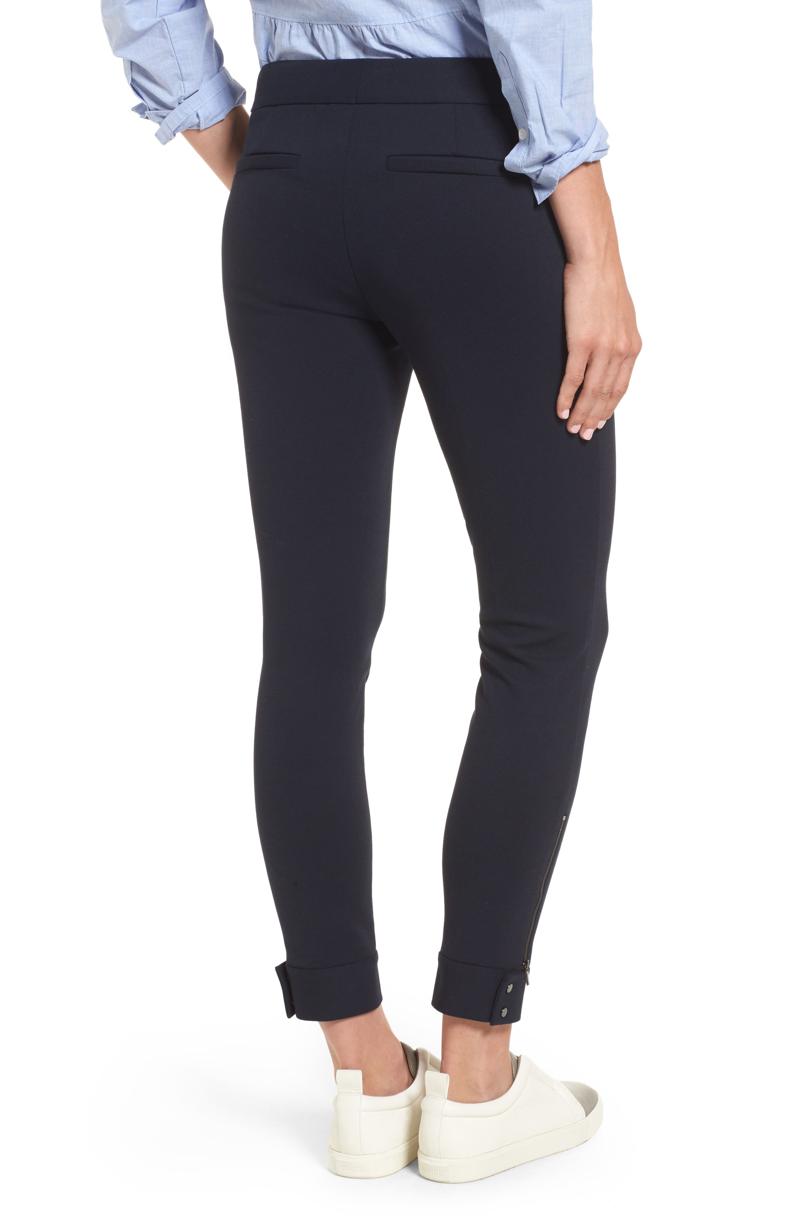 Tab Detail Ponte Ankle Pants,                             Alternate thumbnail 3, color,                             Navy Night