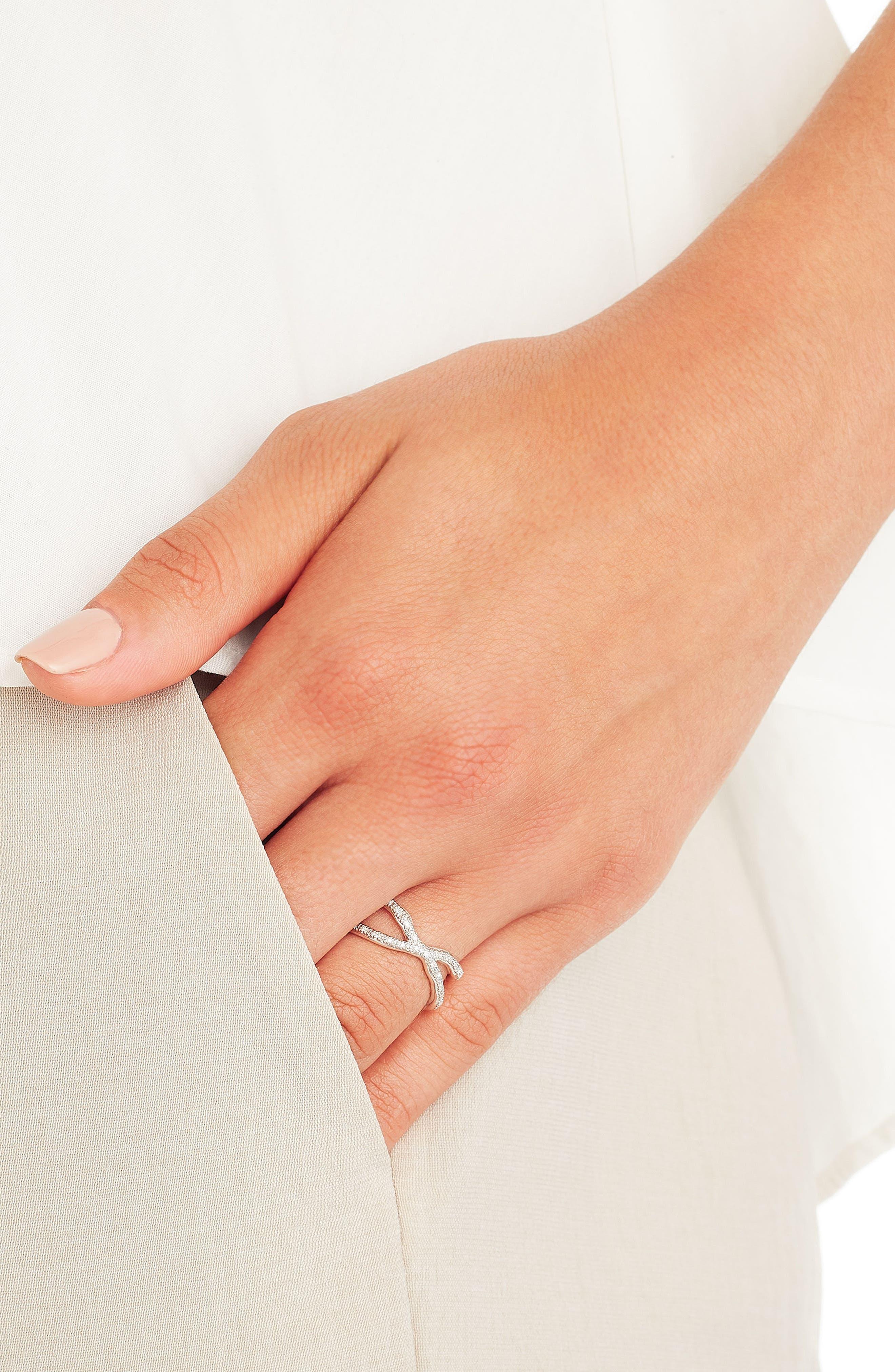 Riva Diamond Ring,                             Alternate thumbnail 4, color,                             Silver/ Diamond